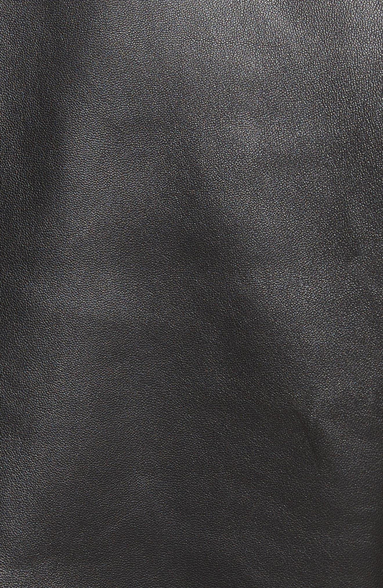 Leather Bomber Jacket,                             Alternate thumbnail 5, color,                             Black