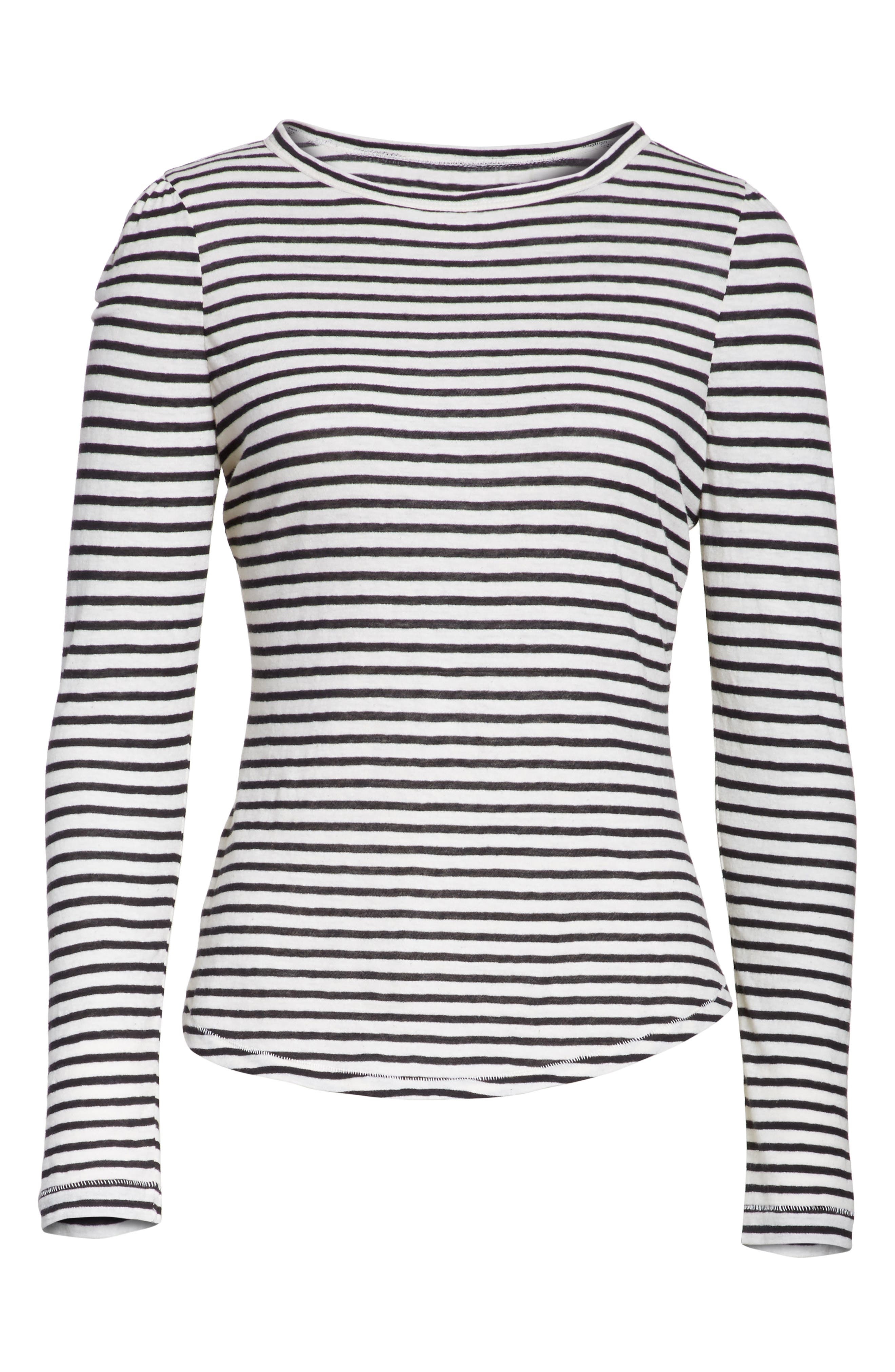 Long Sleeve Stripe Tee,                             Alternate thumbnail 6, color,                             Chalk/ Black