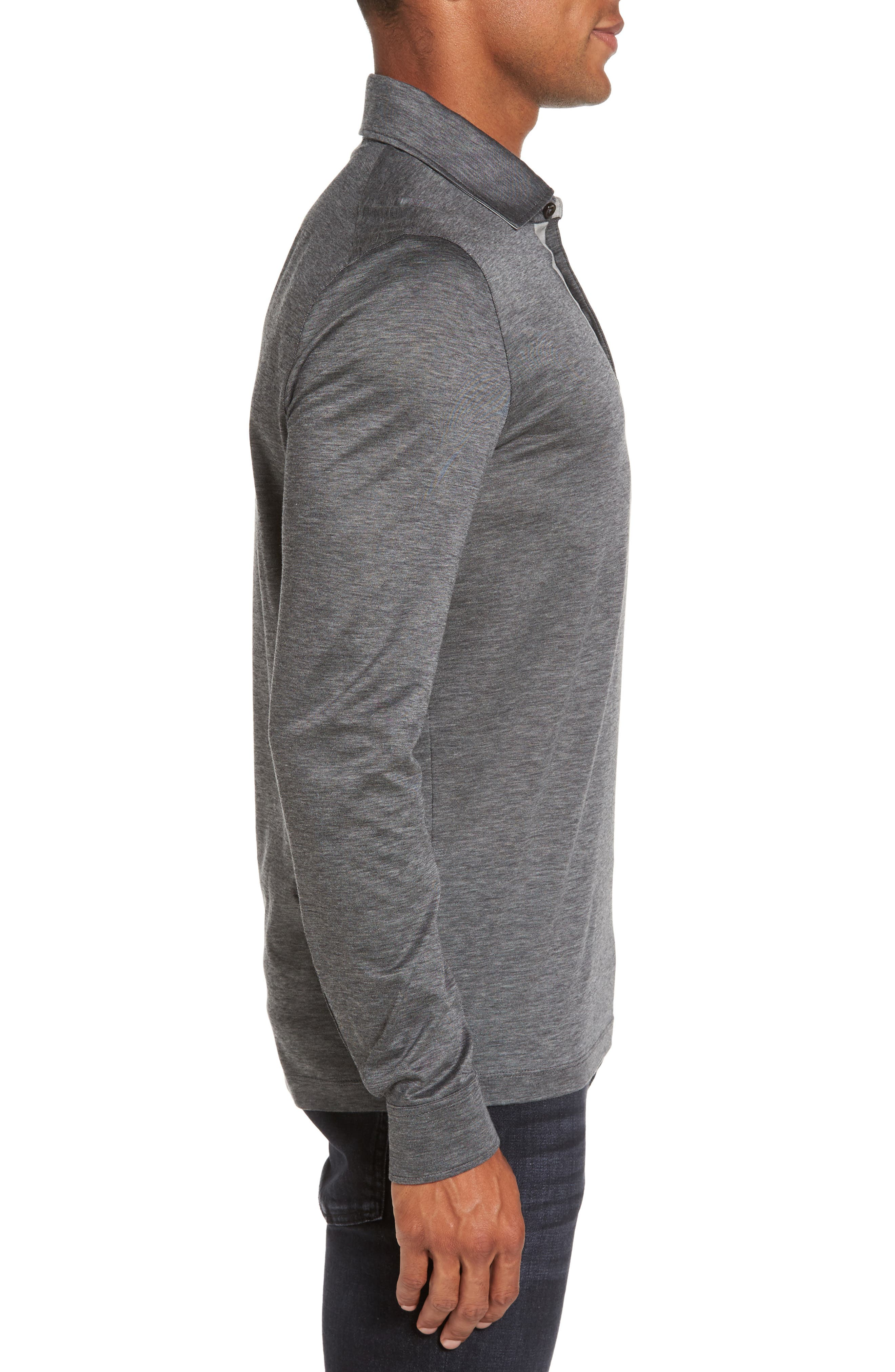 T-Morrison Slim Fit Long Sleeve Polo,                             Alternate thumbnail 3, color,                             Black