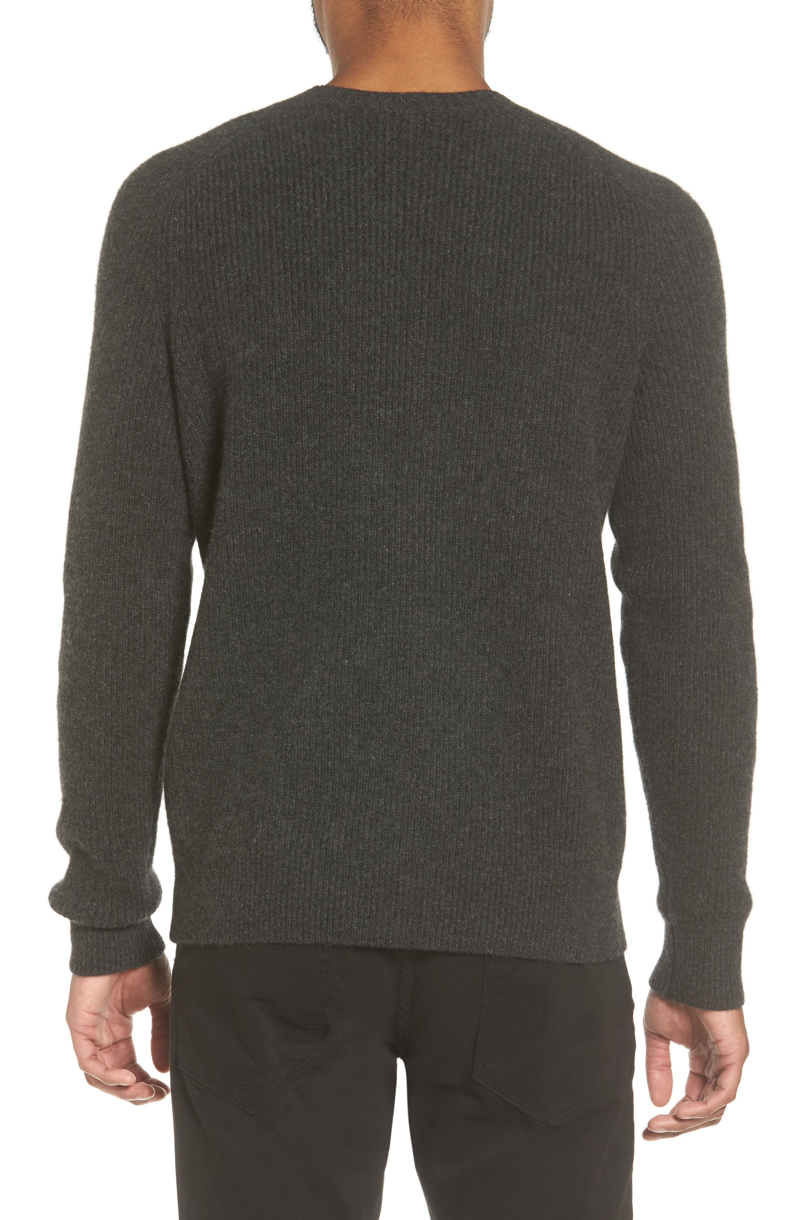 Ribbed Wool & Cashmere Raglan Sweater,                             Alternate thumbnail 2, color,                             Heather Carbon