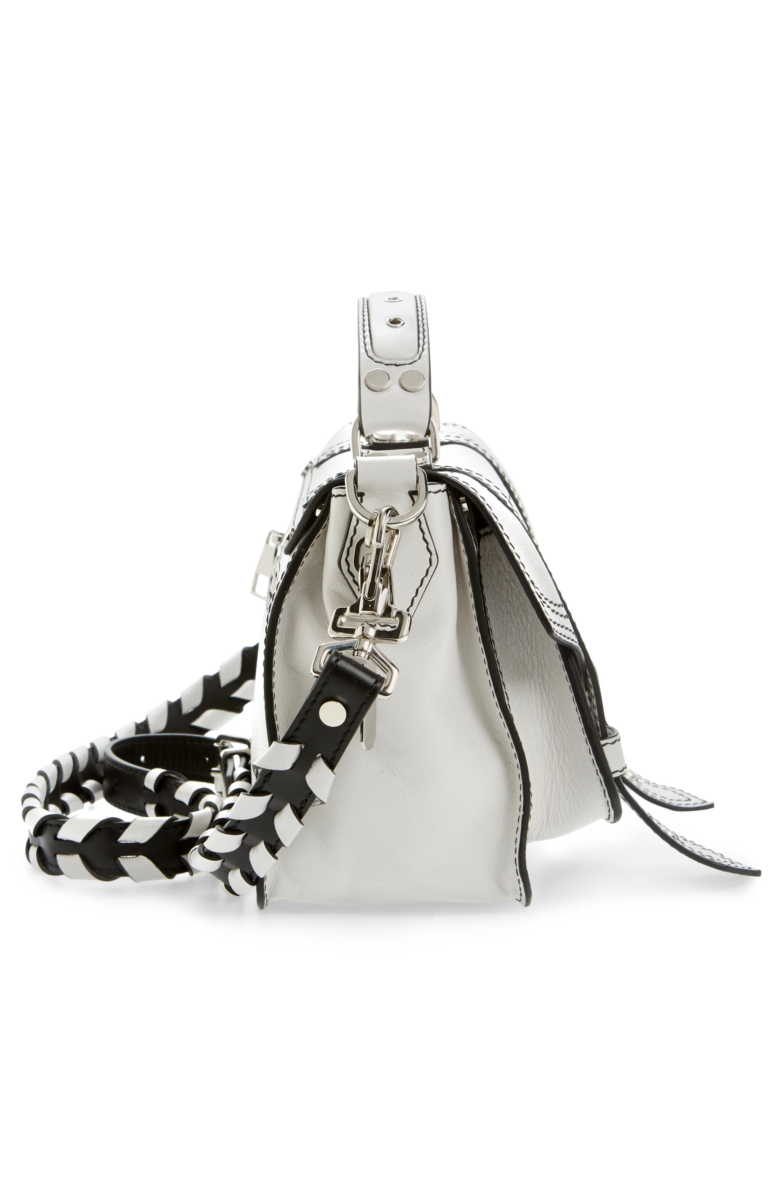 Tiny PS1 Calfskin Leather Satchel with Novelty Shoulder/Crossbody Strap,                             Alternate thumbnail 5, color,                             Optic White