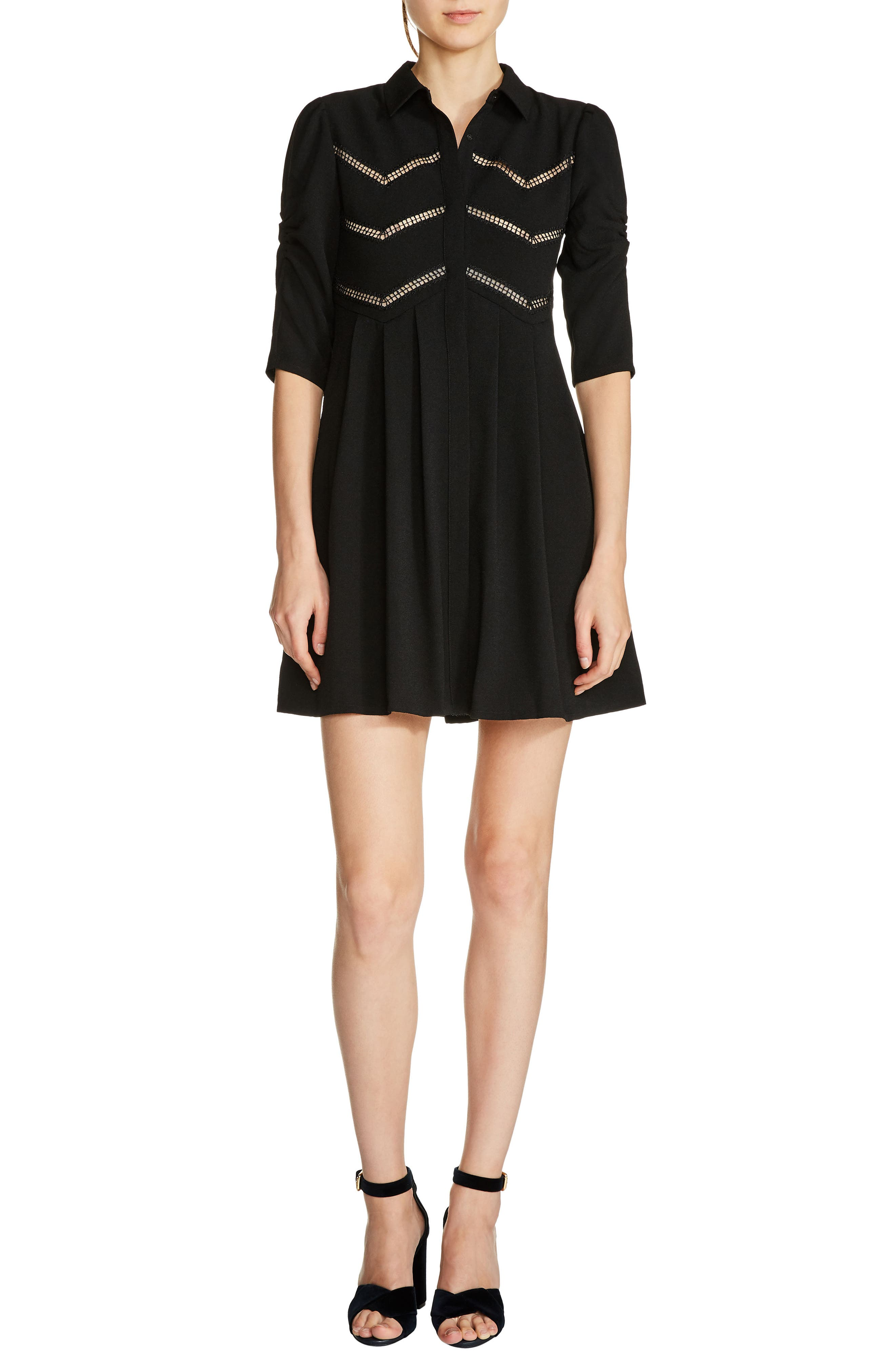 Fit & Flare Shirtdress,                         Main,                         color, Black