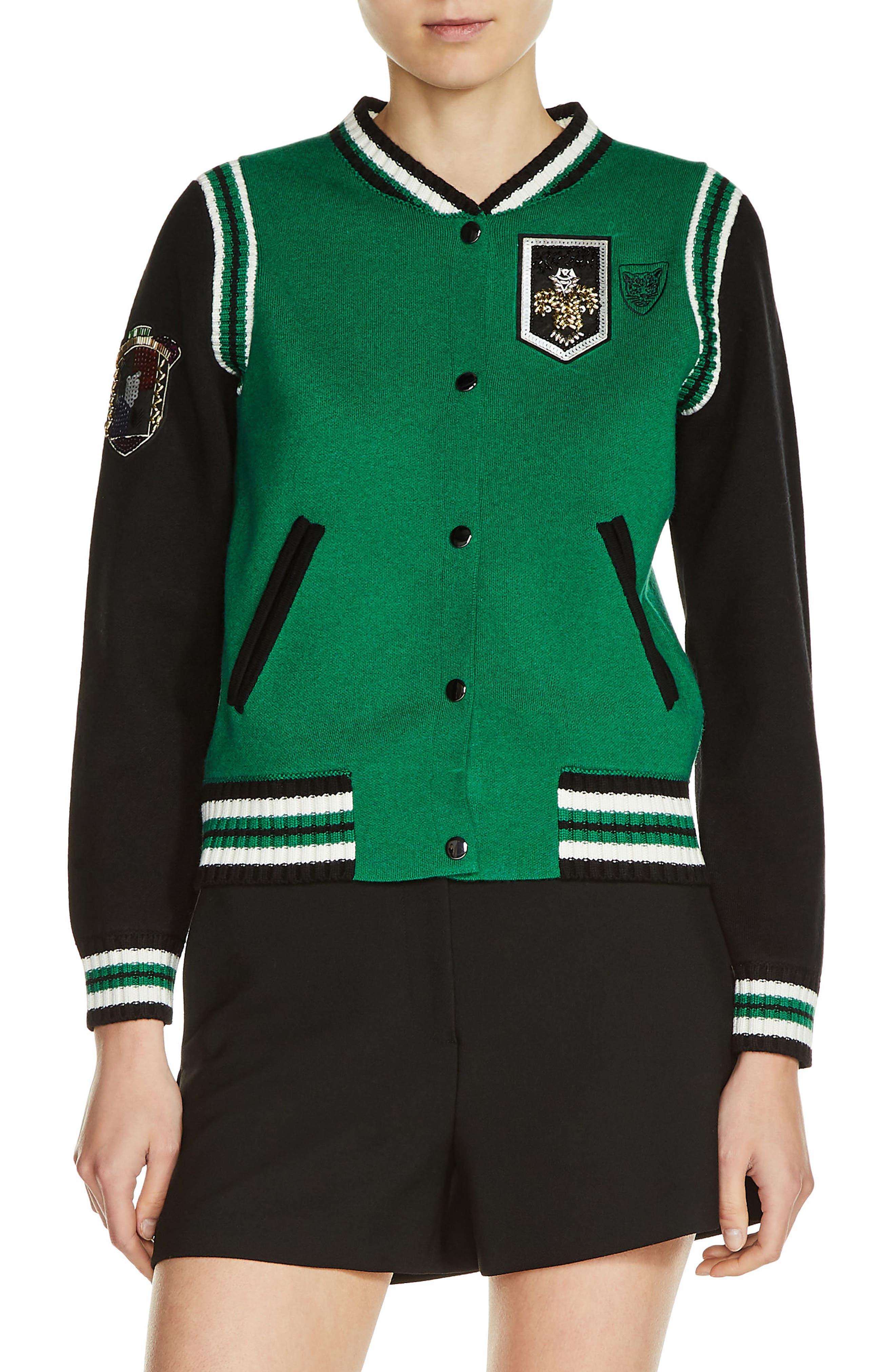 Knit Bomber Jacket,                         Main,                         color, Green