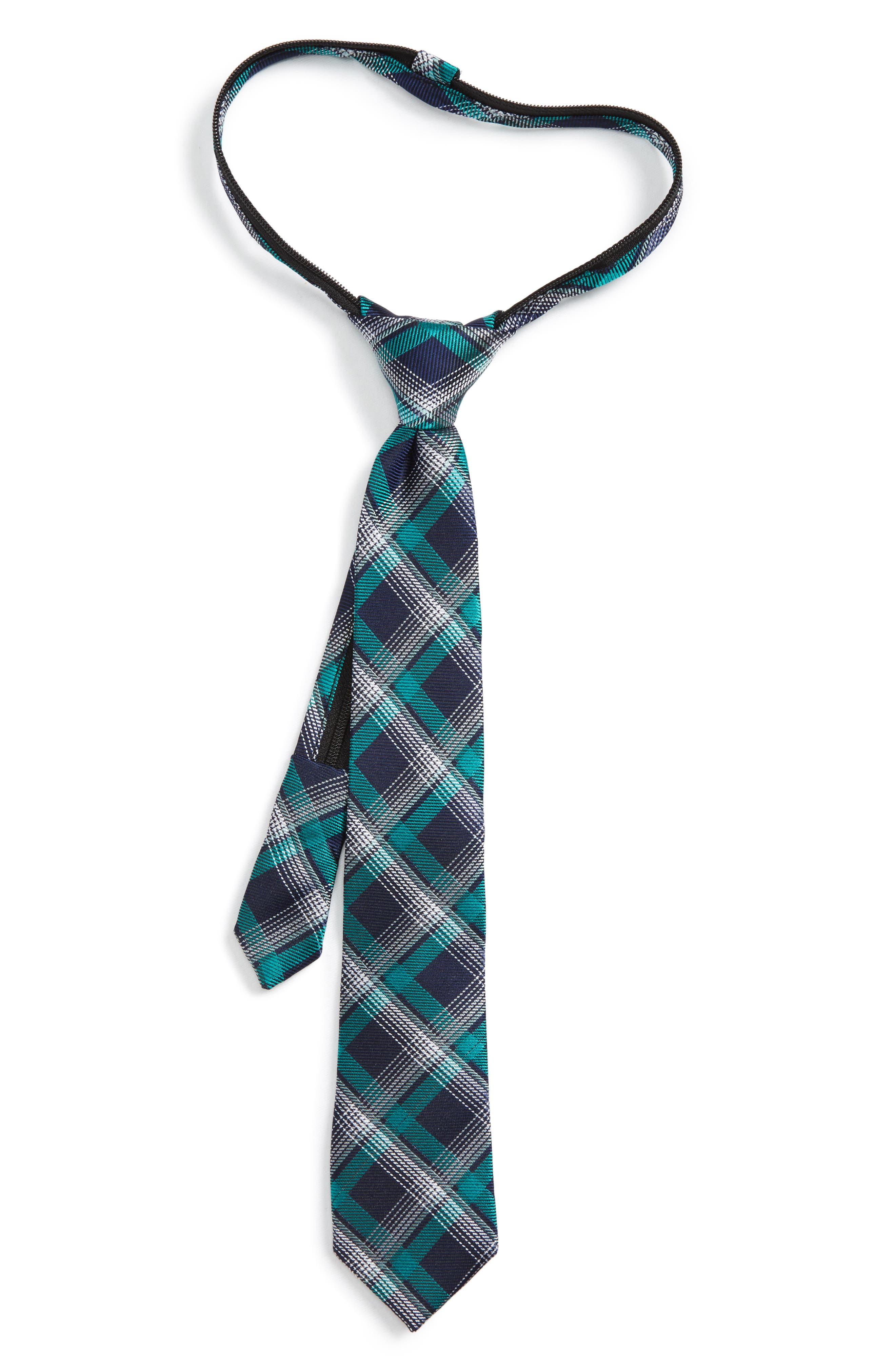 Plaid Silk Zip Tie,                         Main,                         color, Emerald