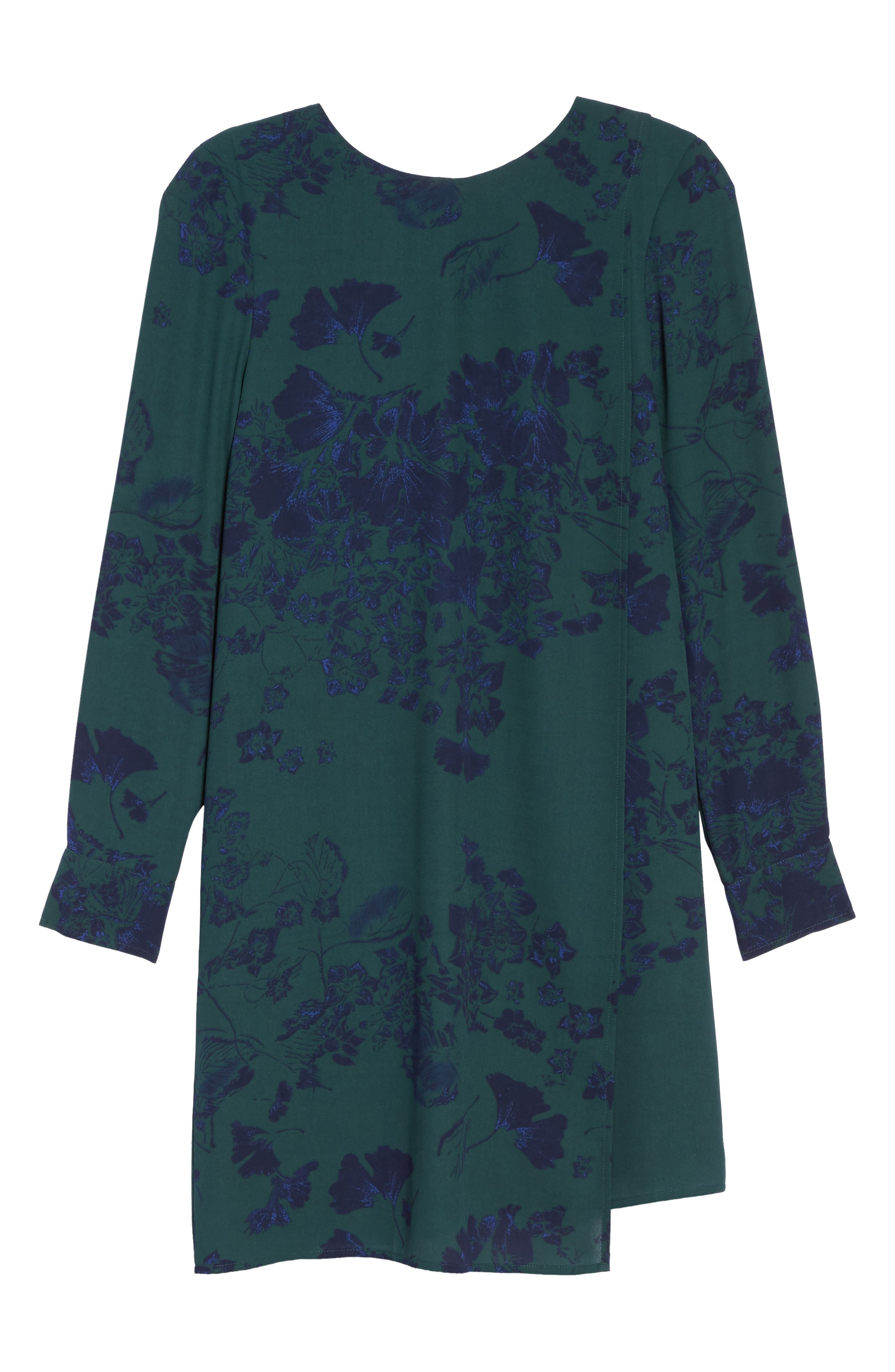 Crossover Shift Dress,                             Alternate thumbnail 6, color,                             Green Fall Floral