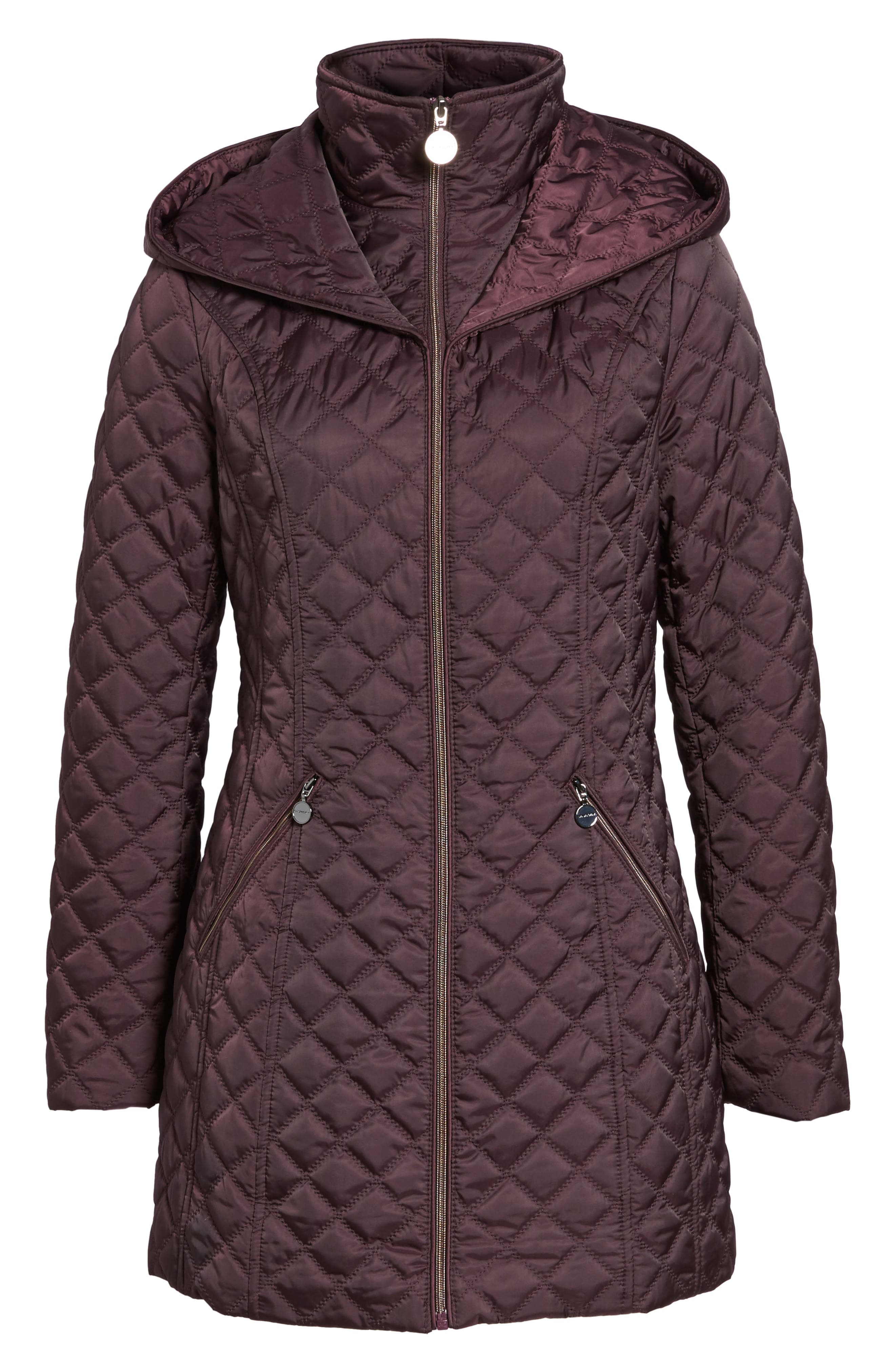 Hooded Quilted Jacket,                             Alternate thumbnail 6, color,                             Claret