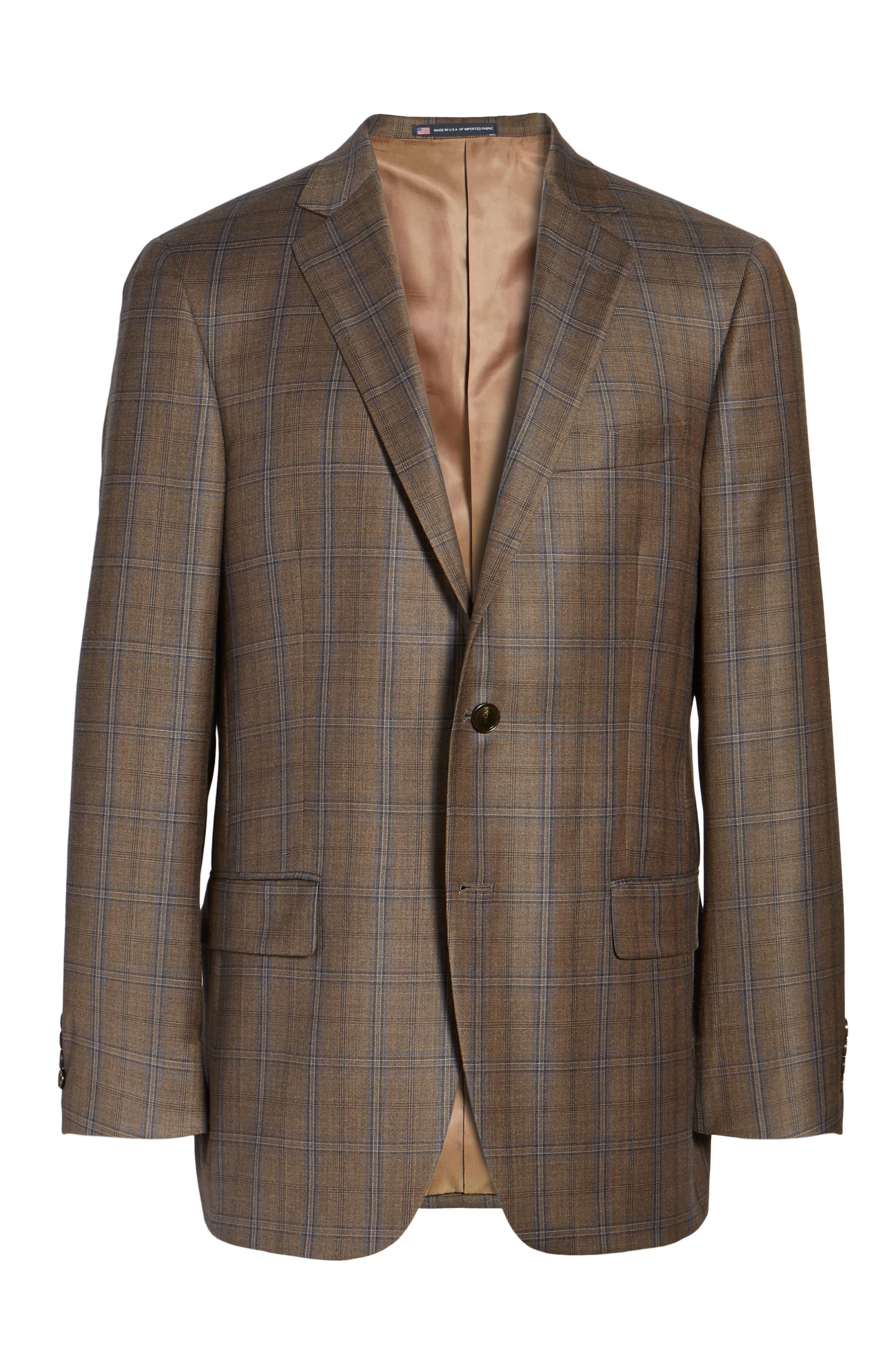 Classic Fit Plaid Wool Sport Coat,                             Alternate thumbnail 6, color,                             Medium Brown