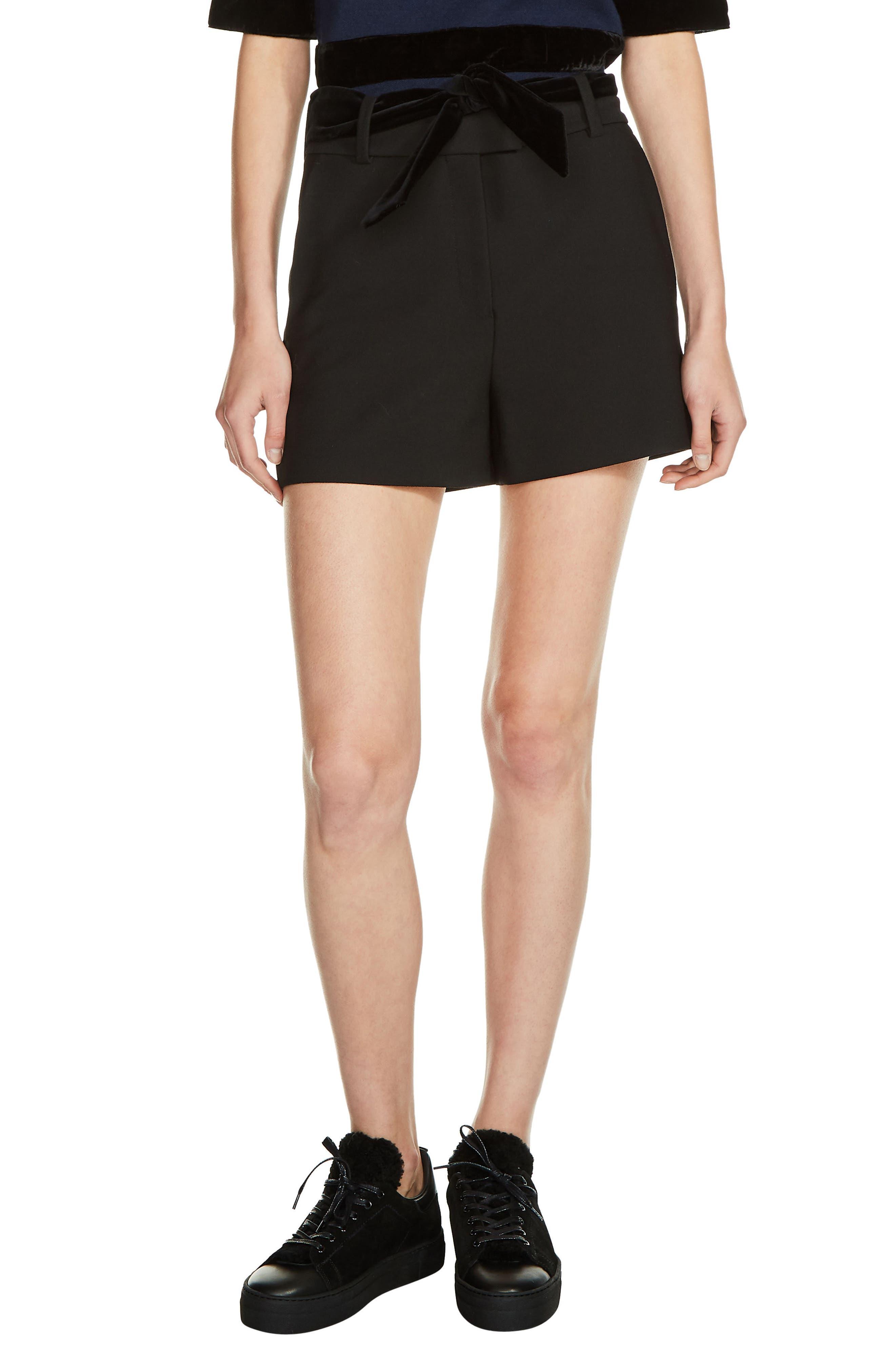 Velvet Tie Shorts,                             Main thumbnail 1, color,                             Black