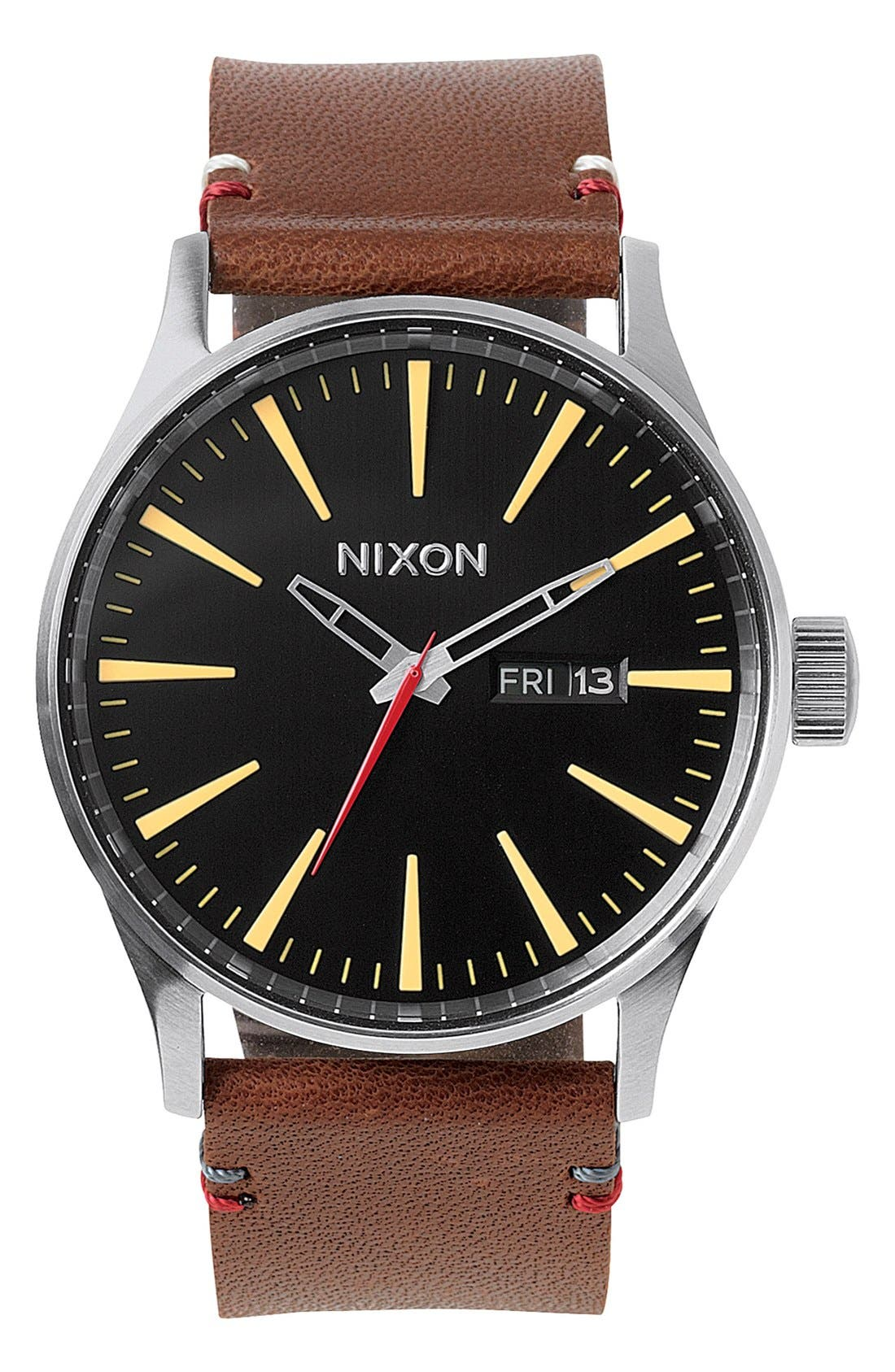 Main Image - Nixon The Sentry Leather Strap Watch, 42mm