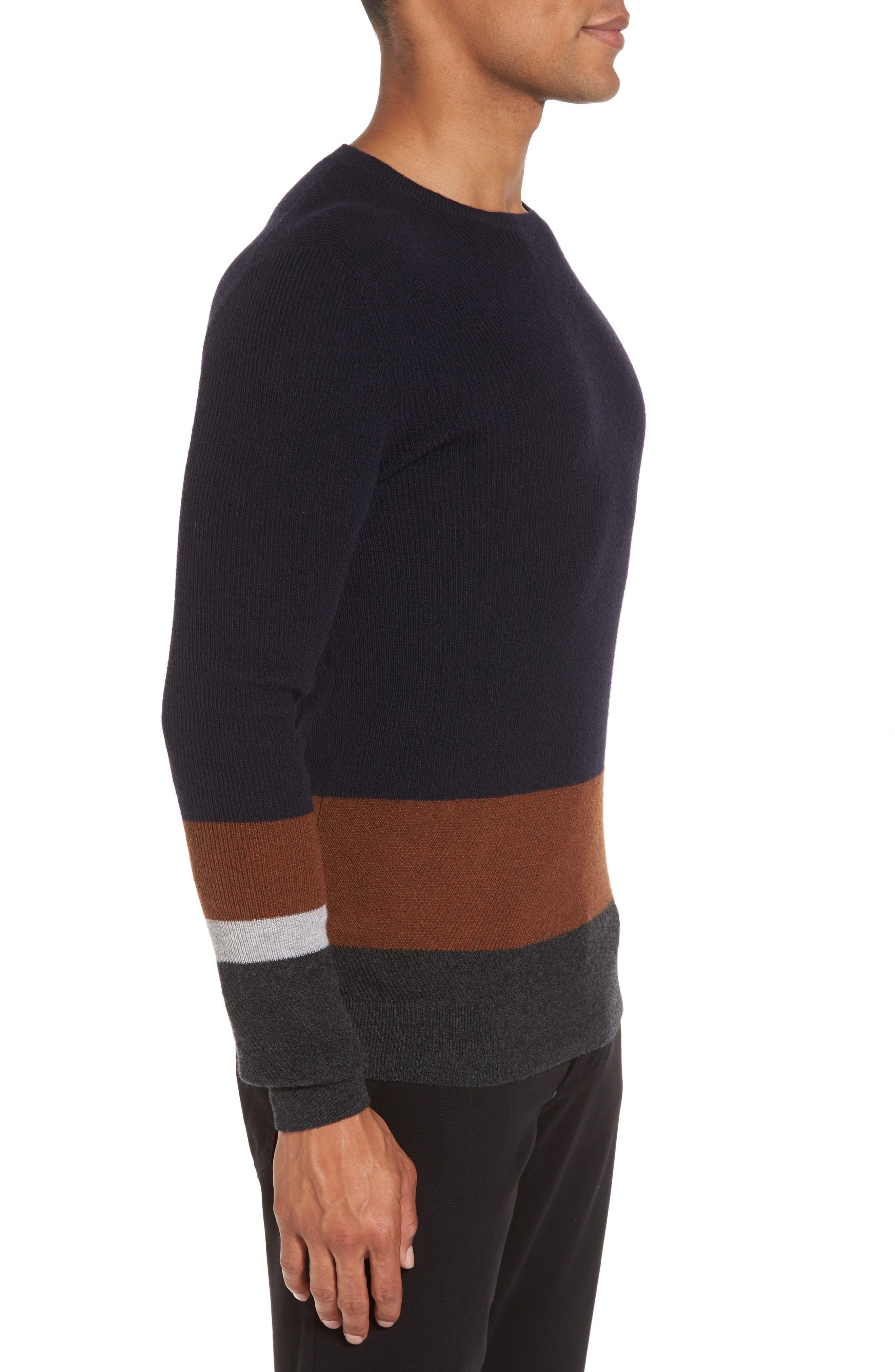 Colorblock Crewneck Sweater,                             Alternate thumbnail 3, color,                             Navy