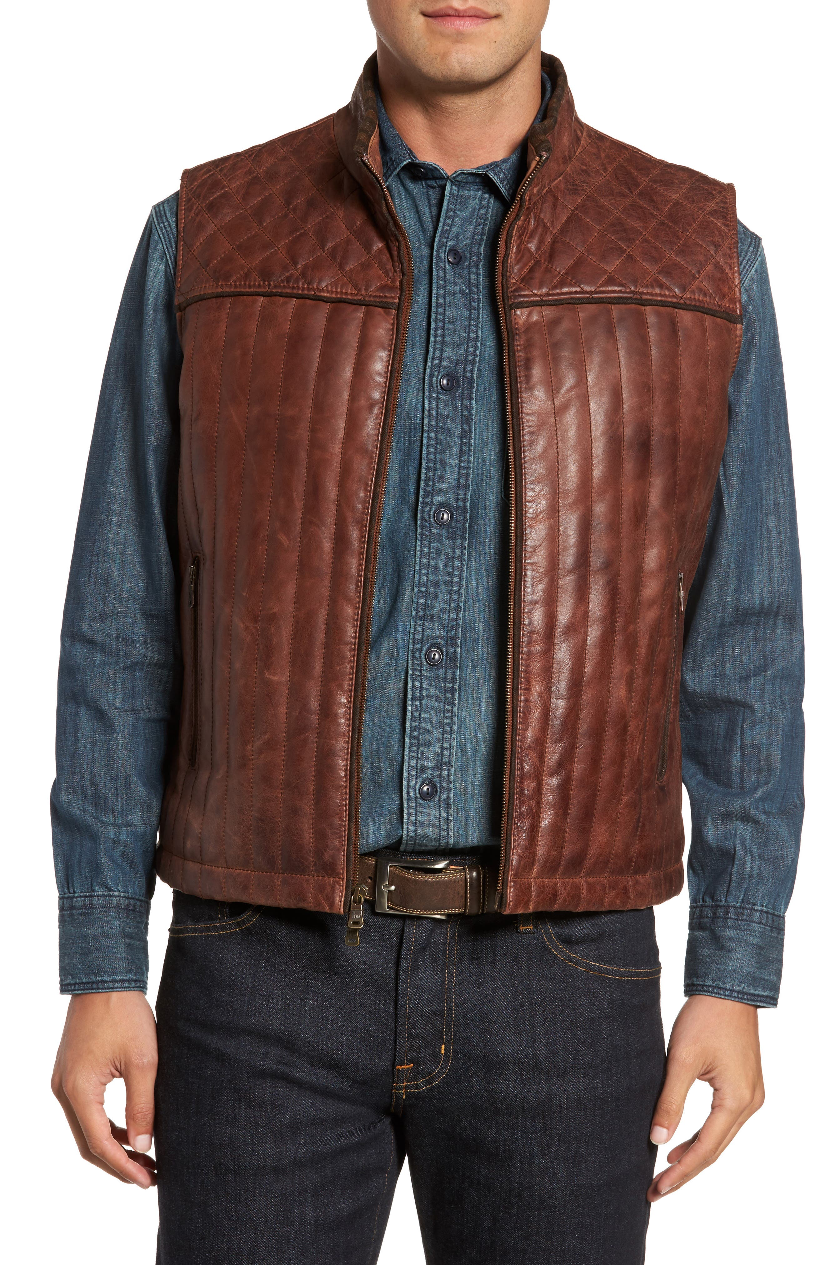 Quilted Leather Vest,                         Main,                         color, Brown