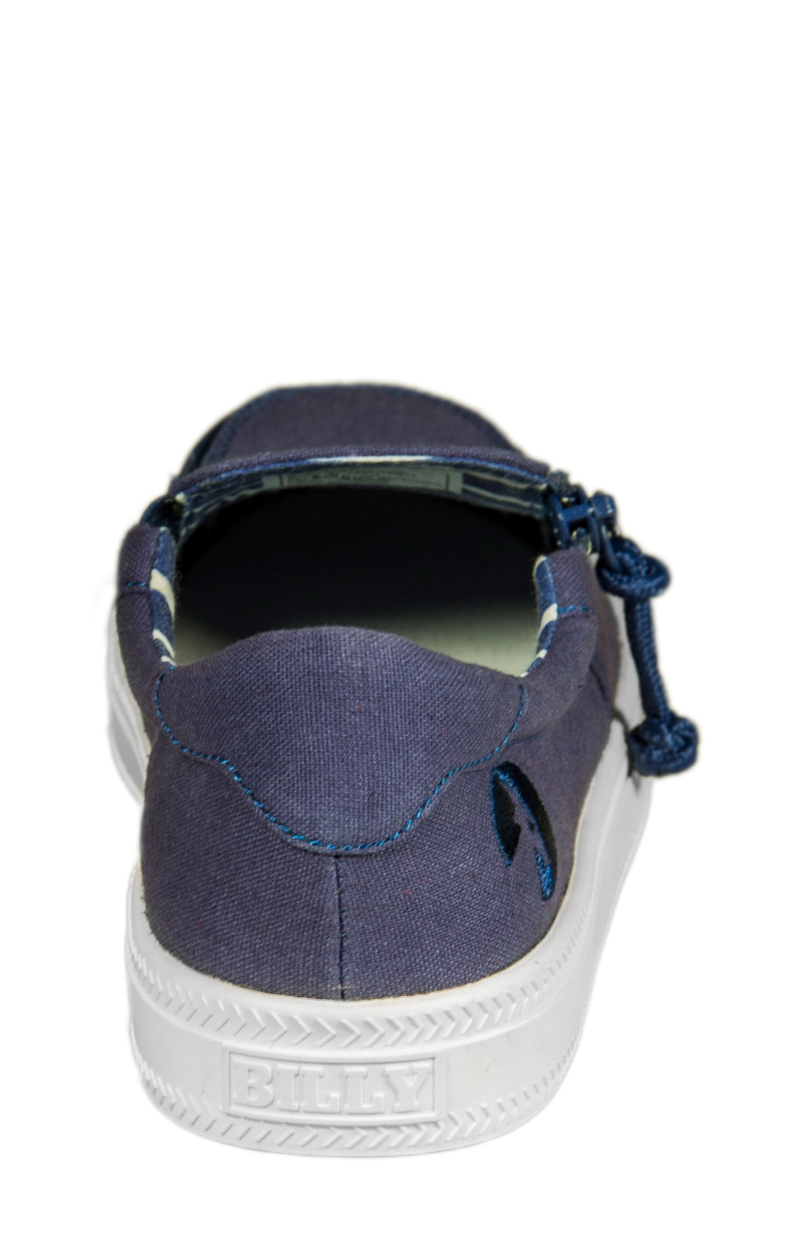 Zip Around Low Top Sneaker,                             Alternate thumbnail 6, color,                             Navy Canvas