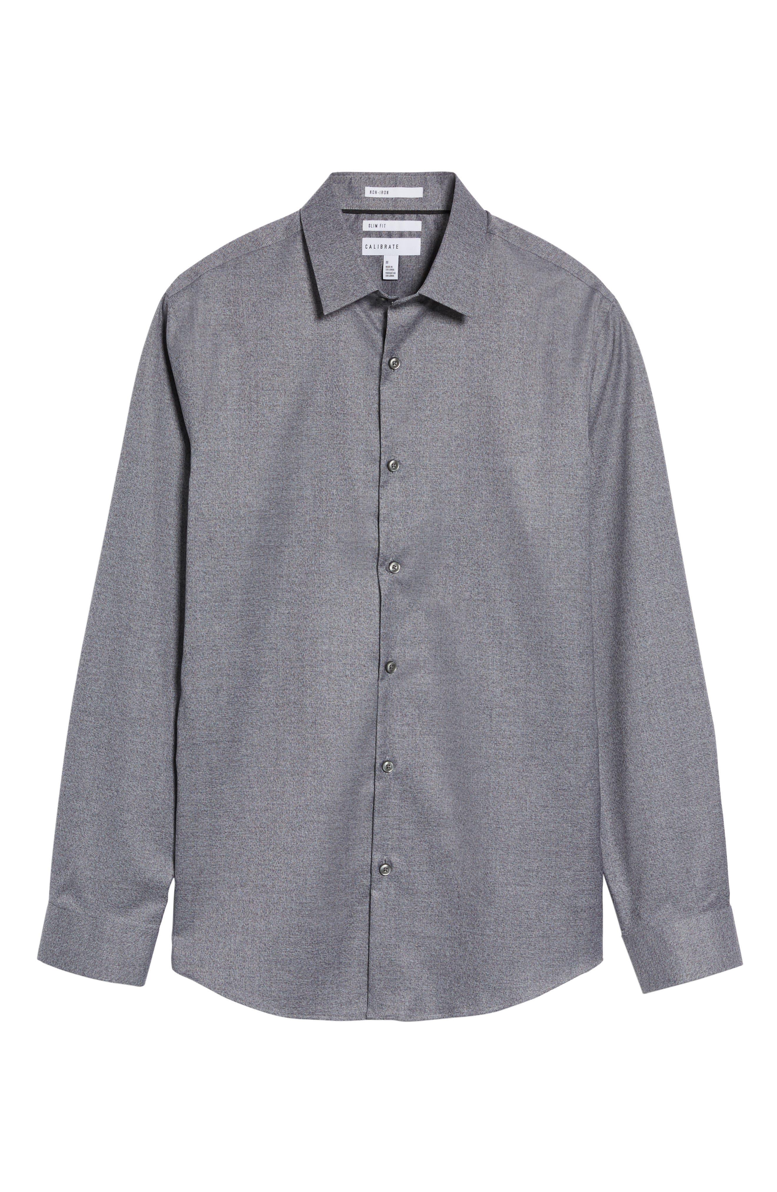 Slim Fit Non-Iron Jaspe Sport Shirt,                             Alternate thumbnail 6, color,                             Grey Magnet Black Jaspe