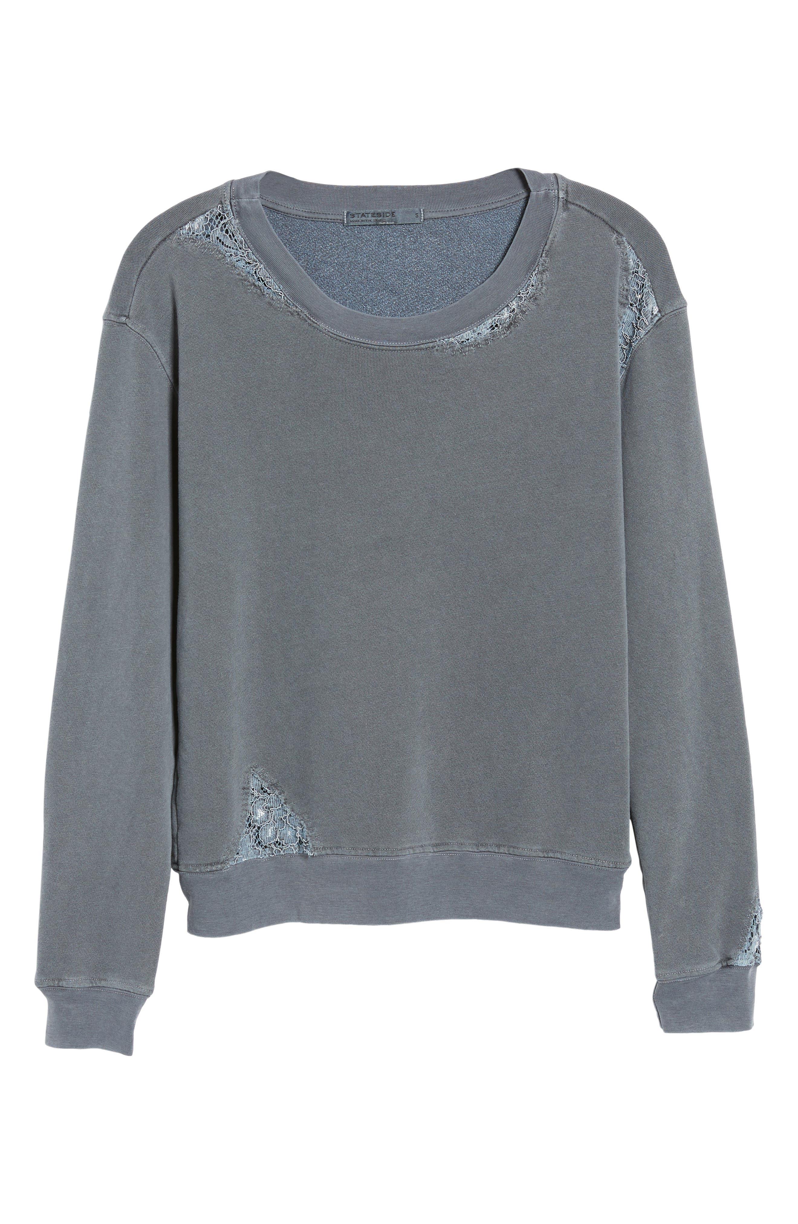 Alternate Image 6  - Stateside Lace Trim Sweatshirt