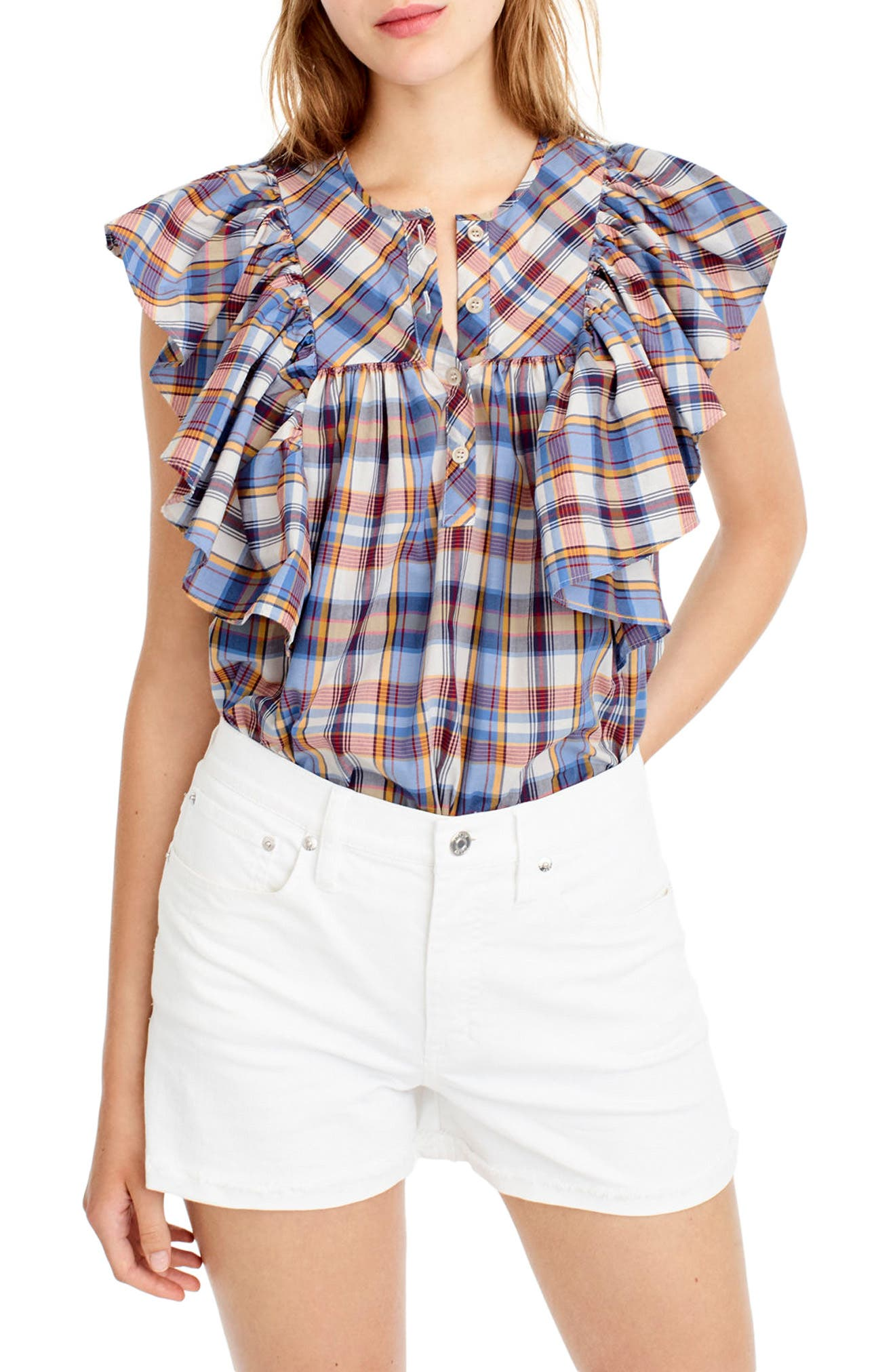 Alternate Image 1 Selected - J.Crew Danny Hula Plaid Top (Regular & Petite)