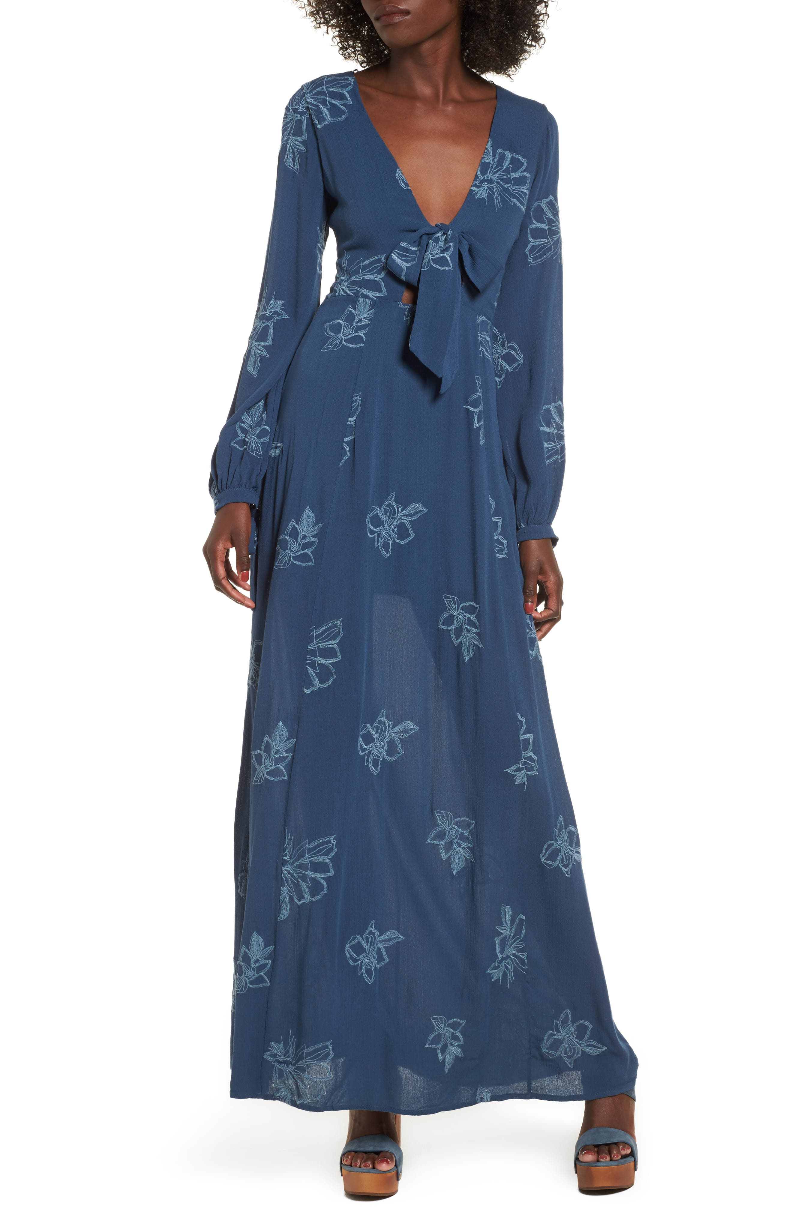 Lost + Wander Autumn Embroidered Maxi Dress