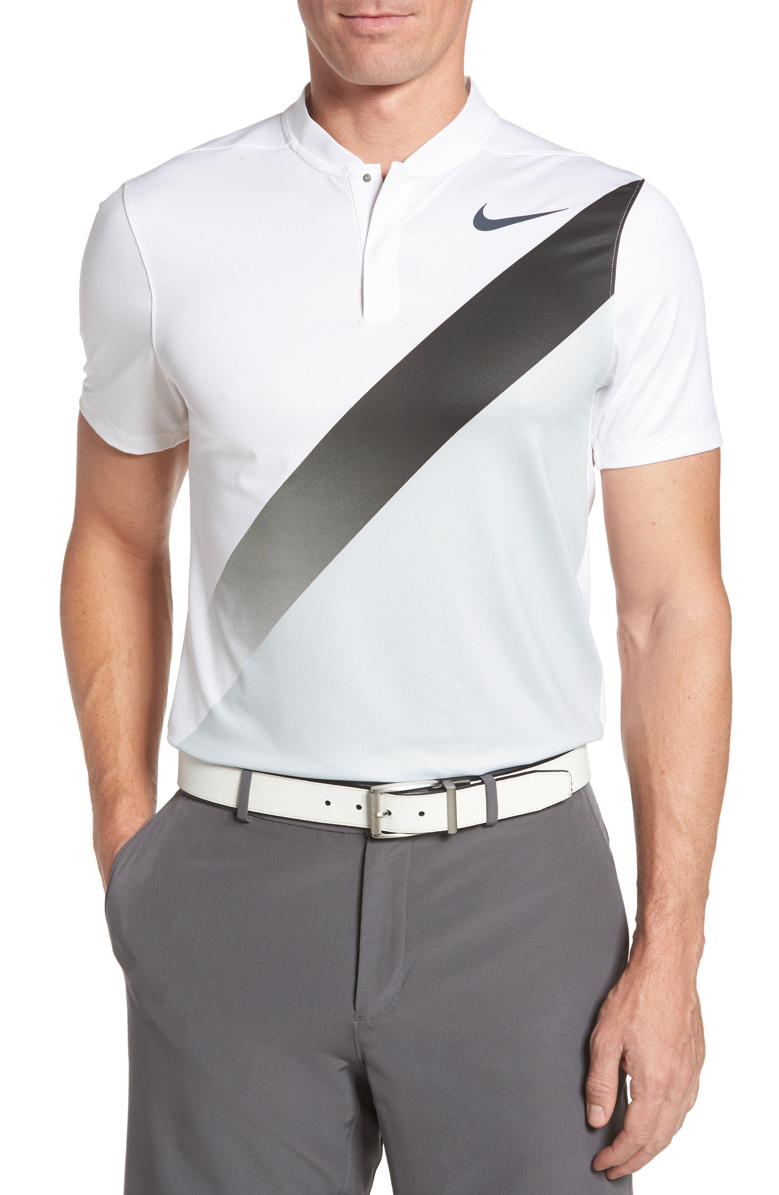 Dry Golf Polo,                         Main,                         color, White/ Platinum/ Black/ Black