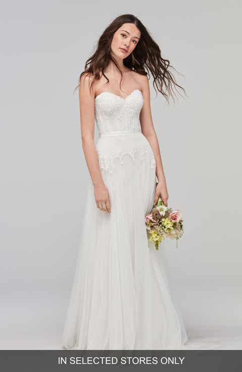 Willowby Lupine Strapless Chantilly Lace Net Gown