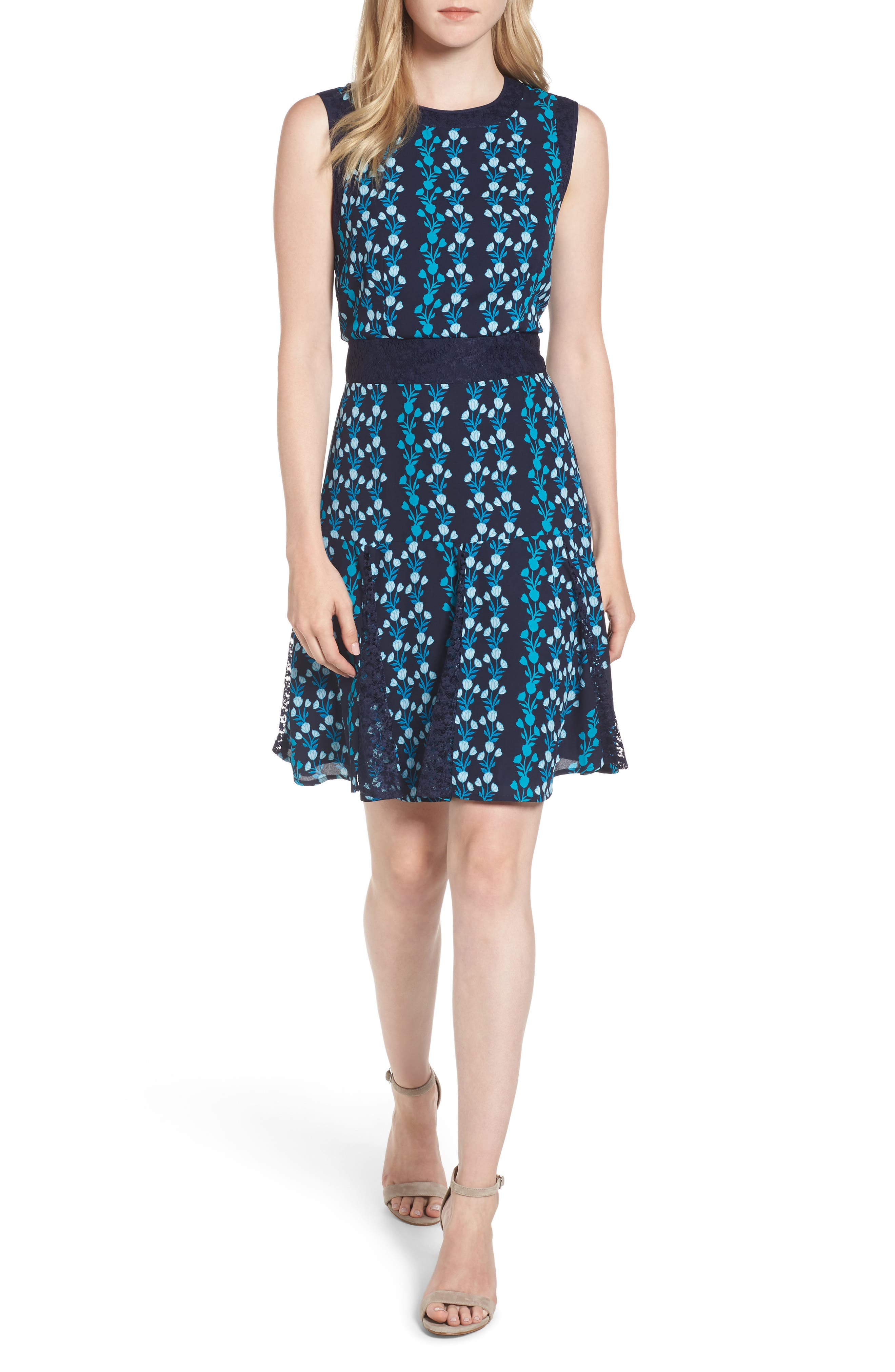 Meadow Vines Lace Dress,                             Main thumbnail 1, color,                             Nassau Navy Multi