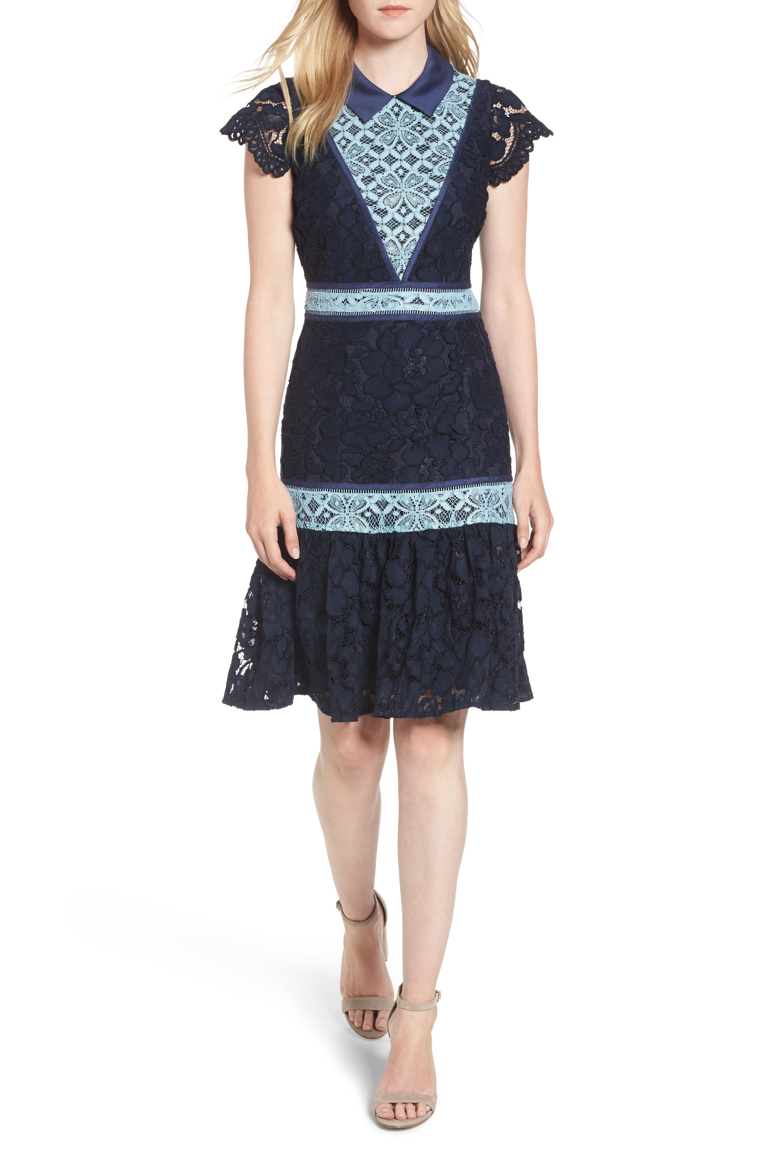 Collared Lace Collection A-Line Dress,                         Main,                         color, Nassau Navy