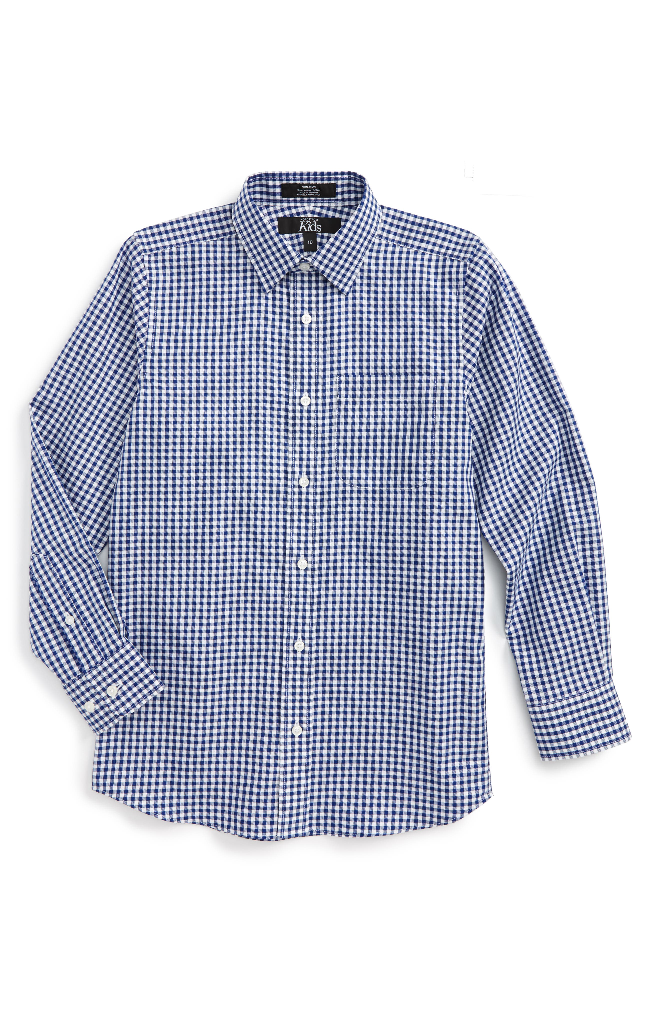 Non-Iron Check Dress Shirt,                         Main,                         color, Navy Patriot