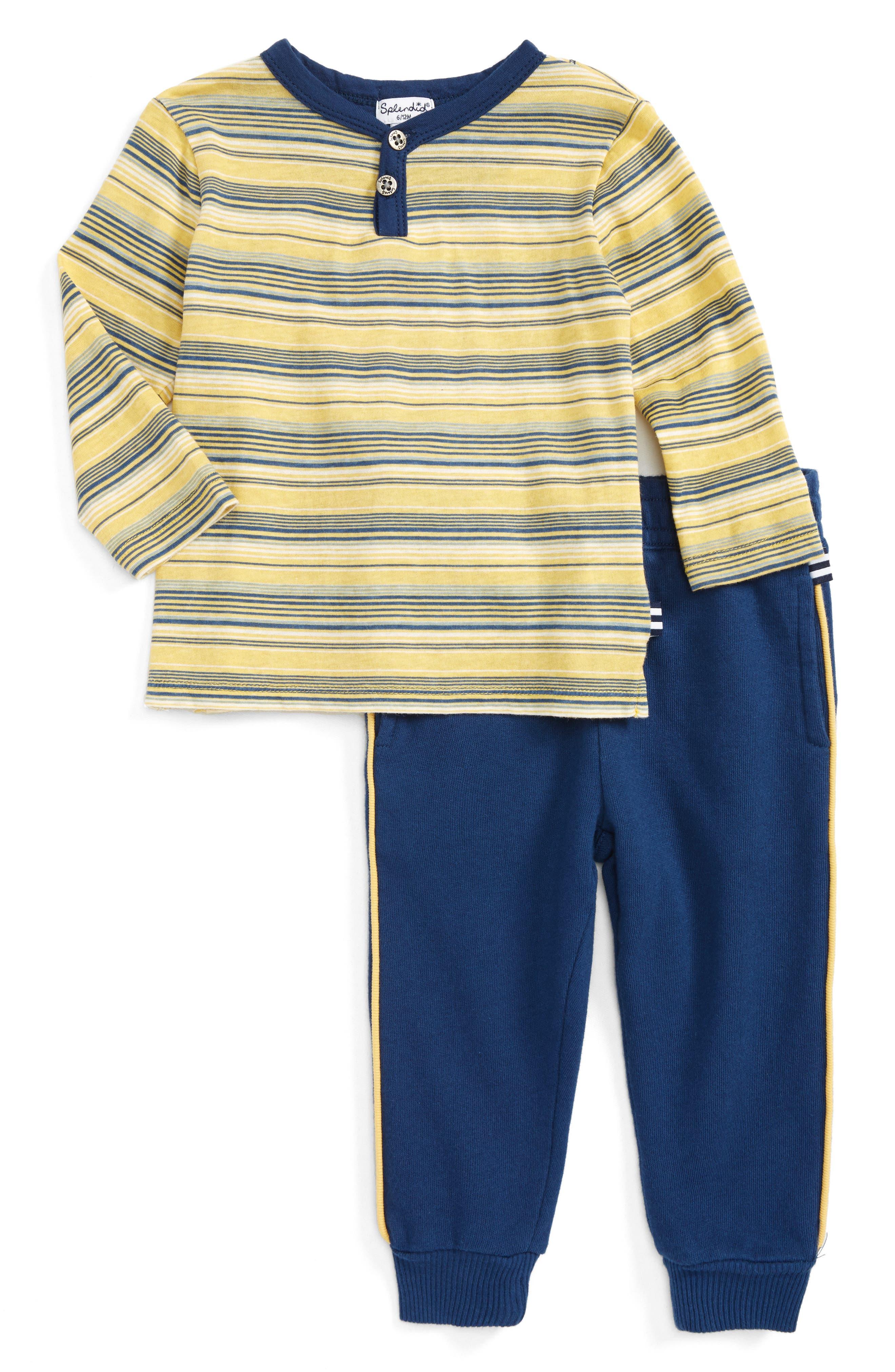 Alternate Image 1 Selected - Splendid Stripe Henley & Pants Set (Baby Boys)