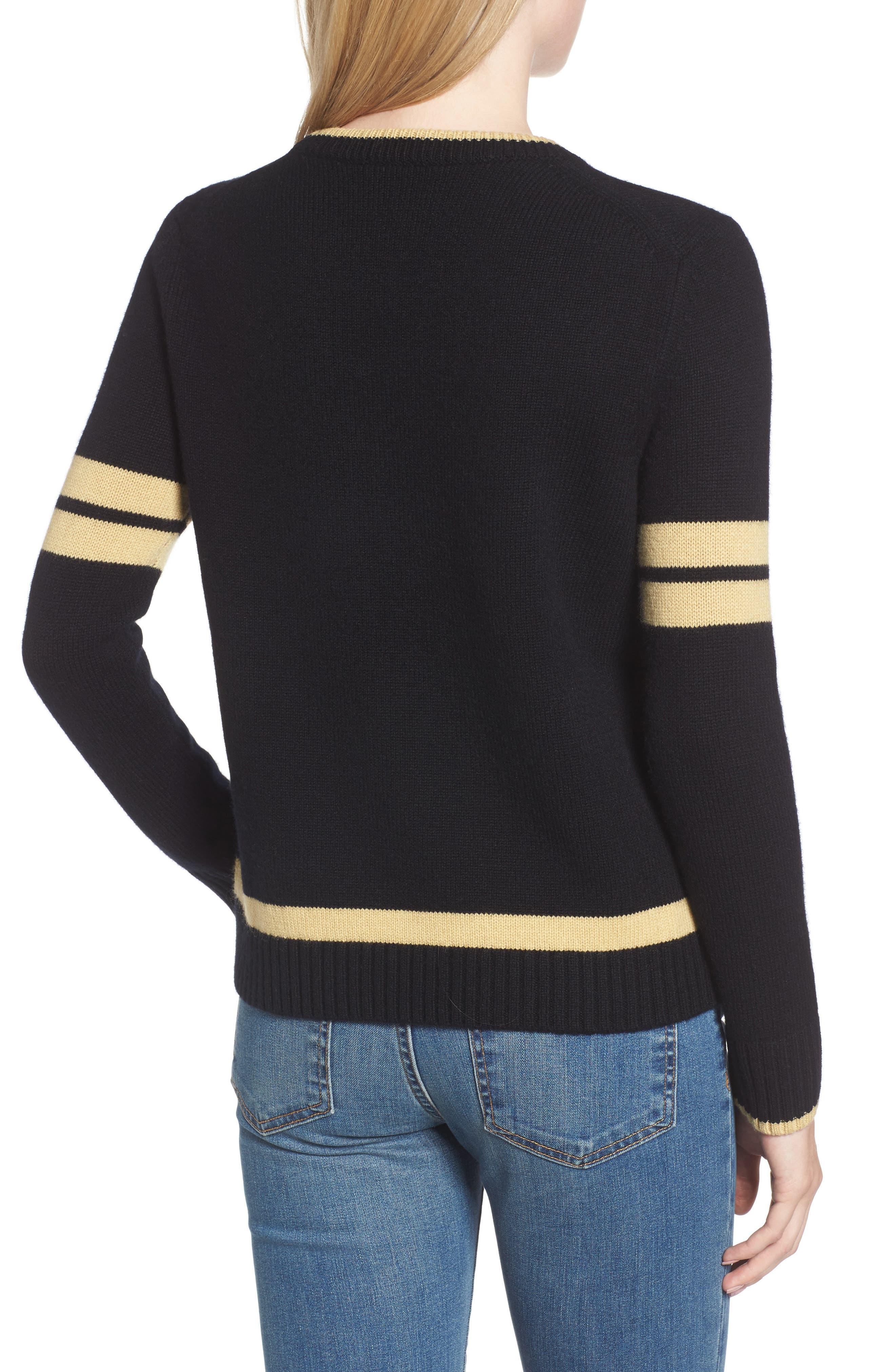 Spirit Sweater,                             Alternate thumbnail 2, color,                             Black/ Gold