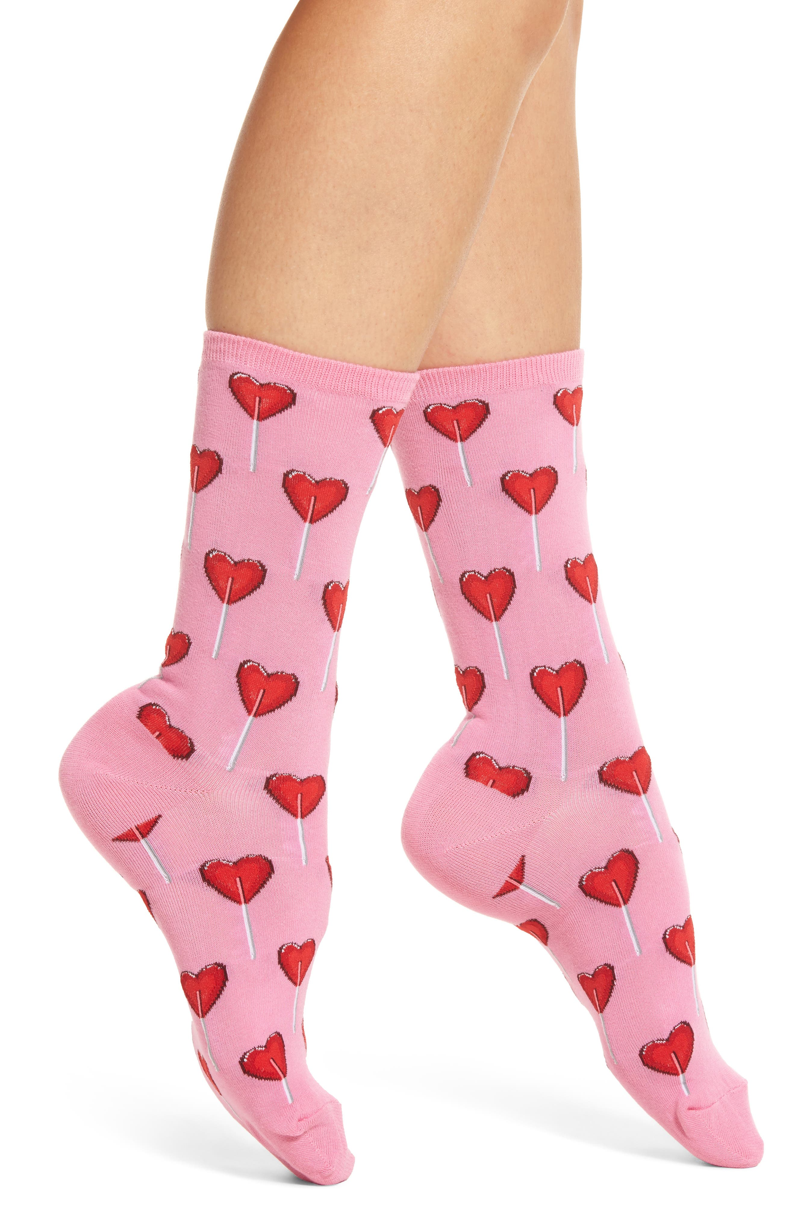 Hot Sox Heart Lollipop Crew Socks