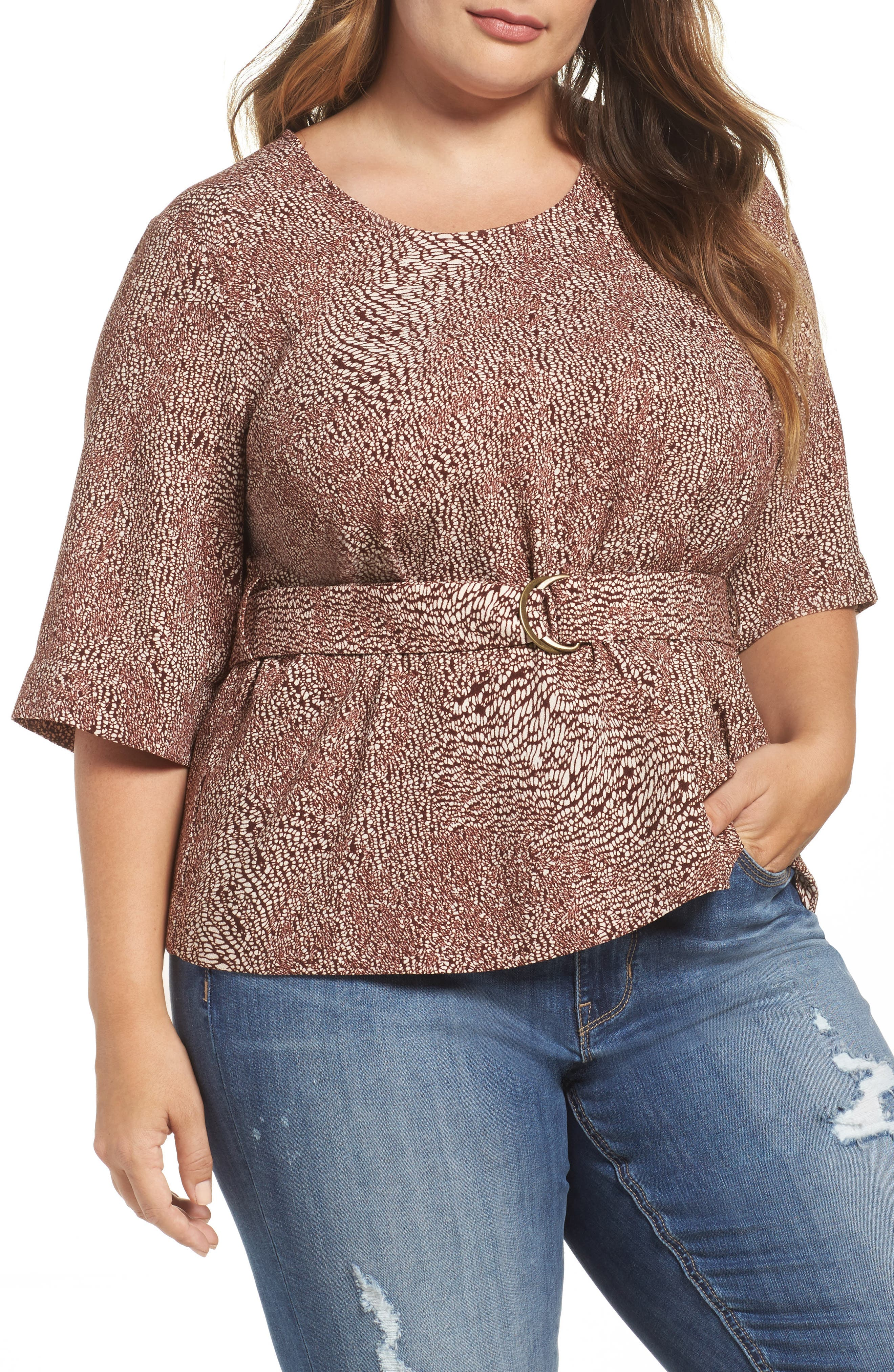 Alternate Image 1 Selected - Melissa McCarthy Seven7 D-Ring Belt Blouse (Plus Size)