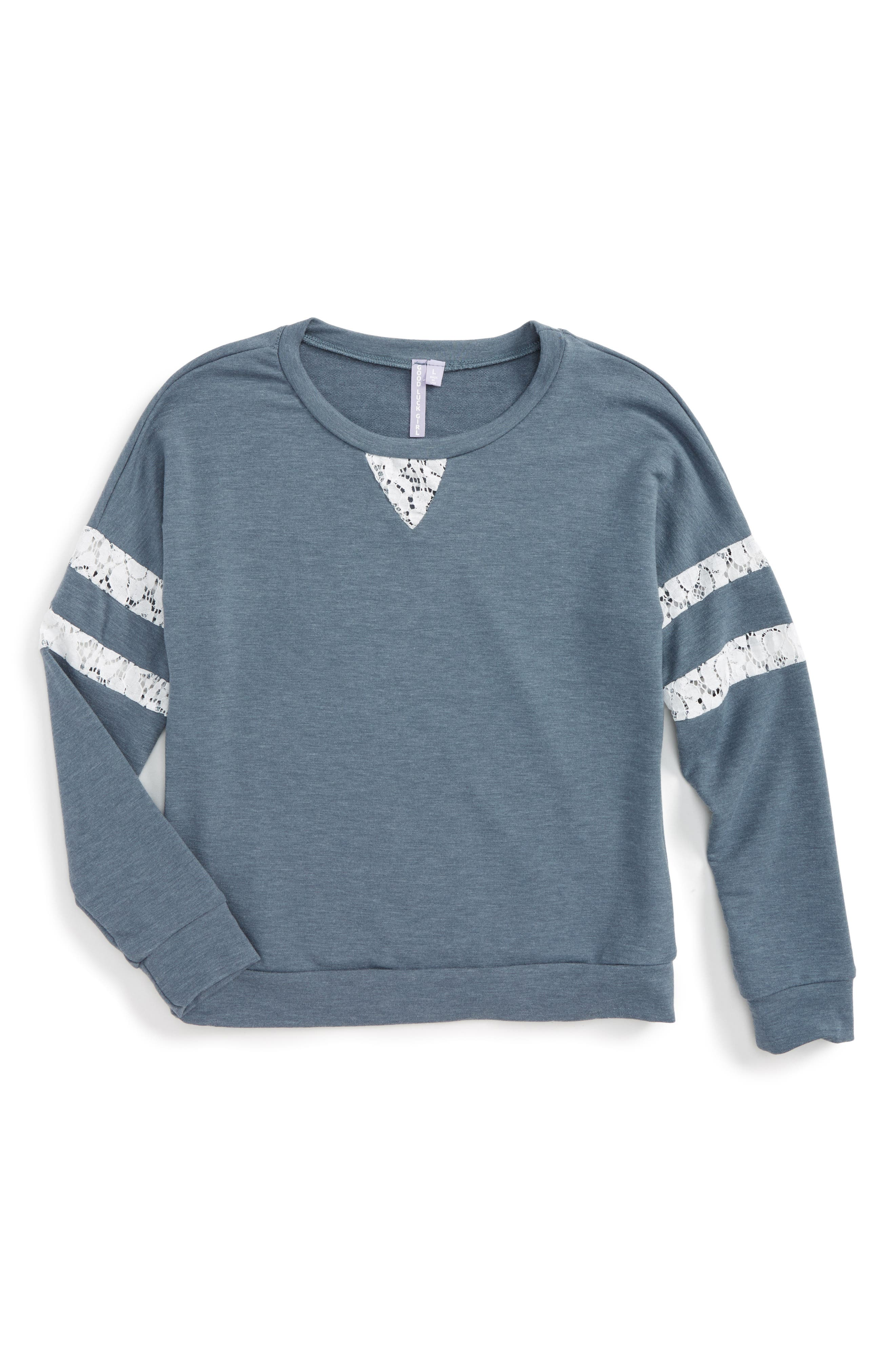 Alternate Image 1 Selected - Good Luck Gem Lace Inset Sweatshirt (Big Girls)