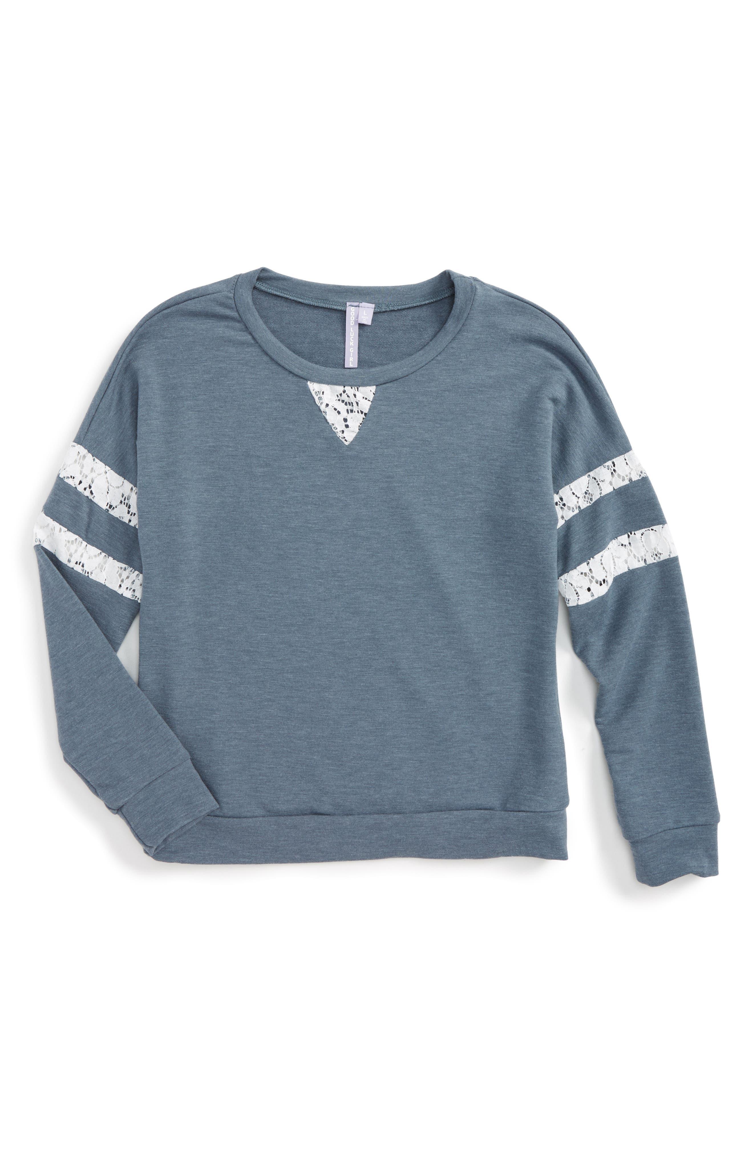Good Luck Gem Lace Inset Sweatshirt (Big Girls)