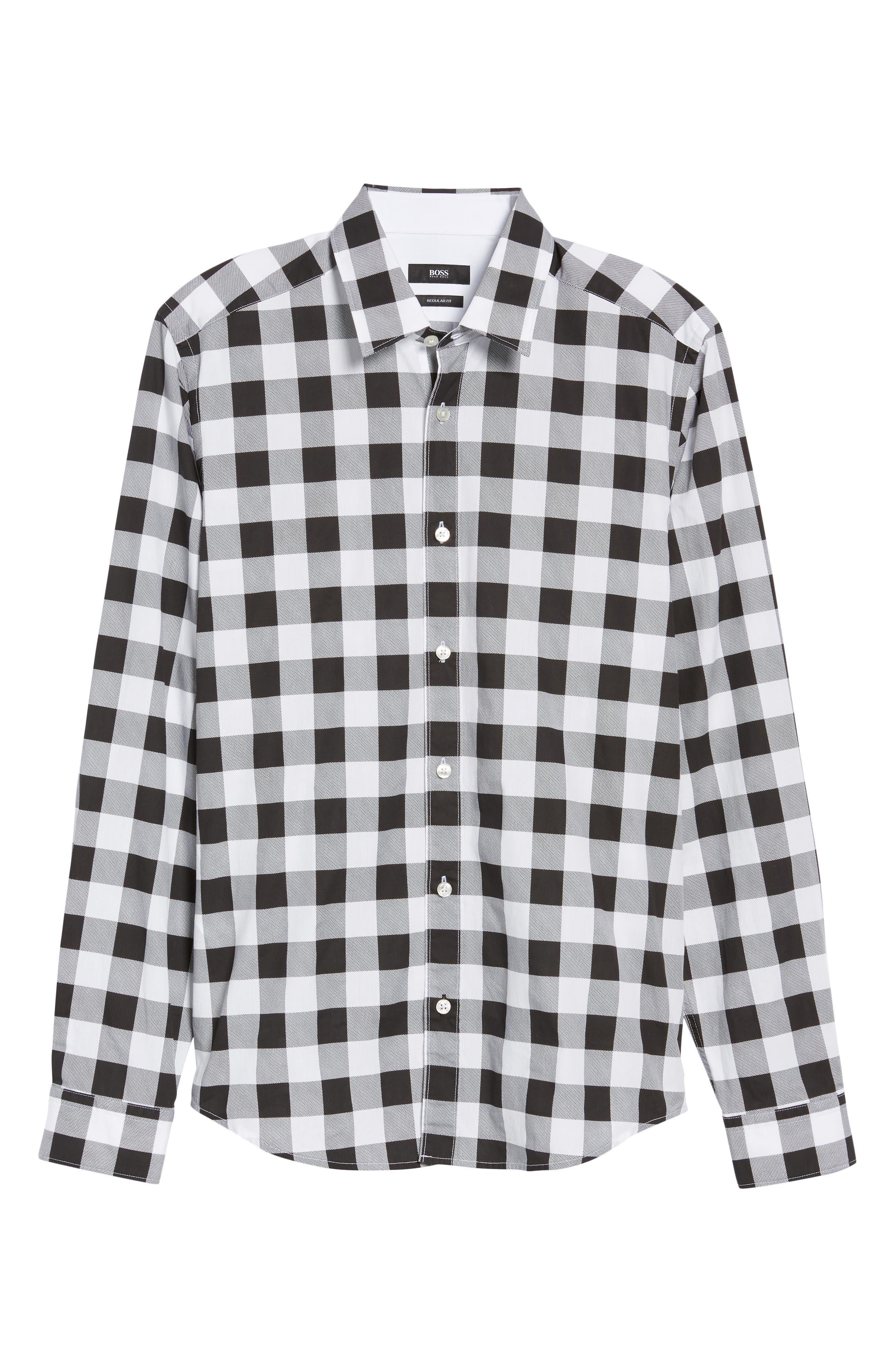 Lance Regular Fit Buffalo Plaid Sport Shirt,                             Alternate thumbnail 5, color,                             Black/ White