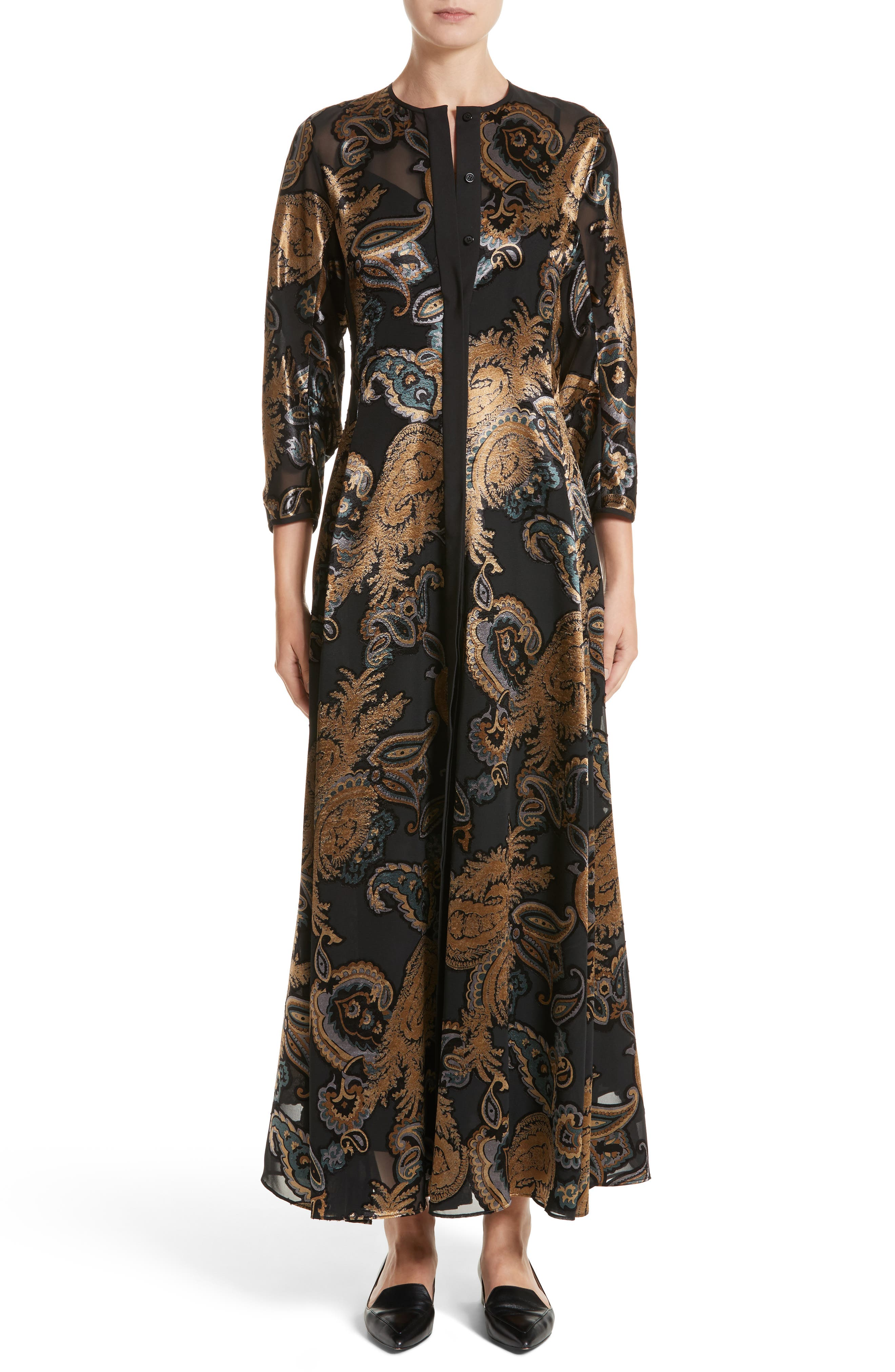 Main Image - Lafayette 148 New York Cadenza Renaissance Paisley Devoré Dress