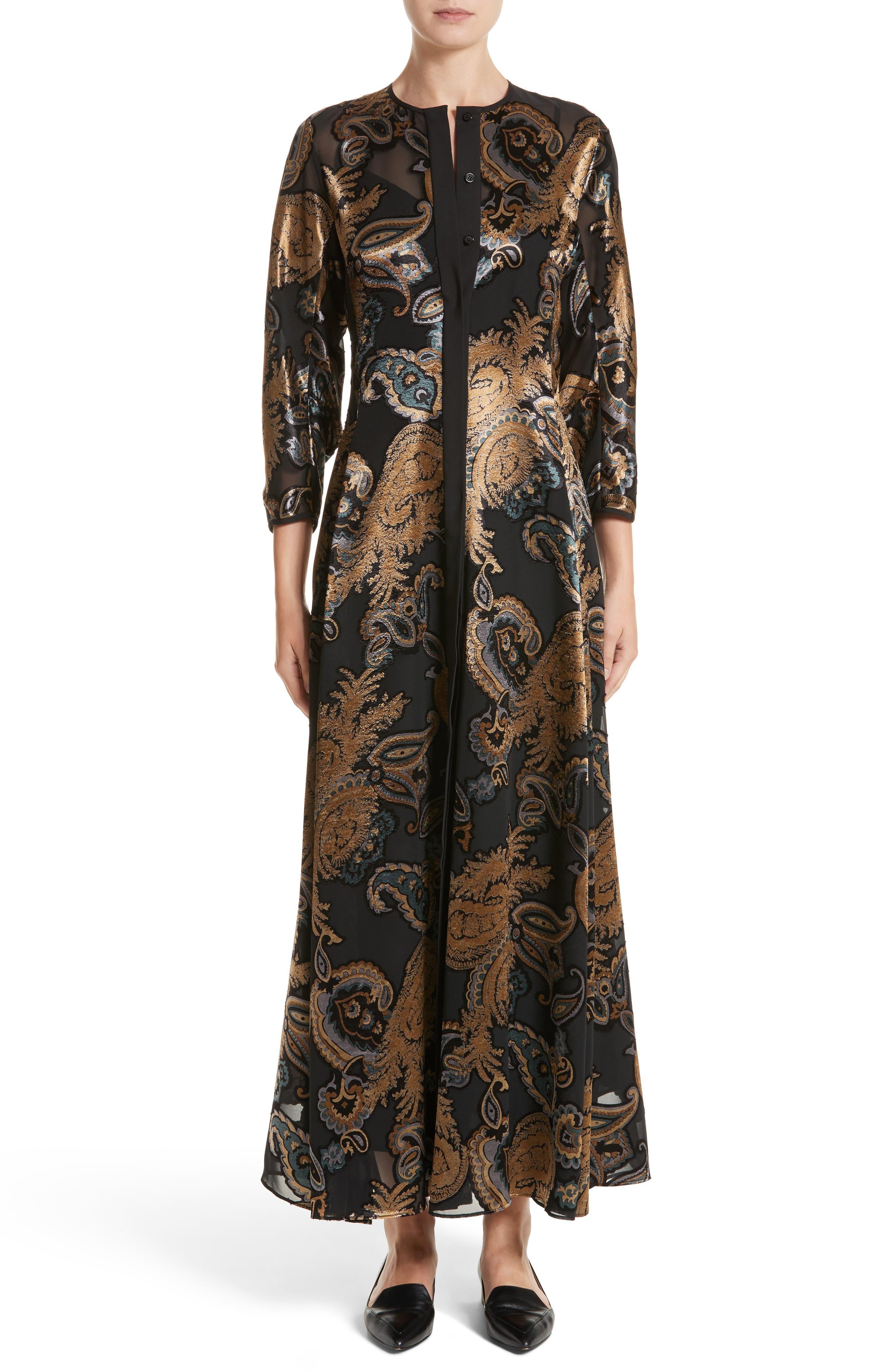 Cadenza Renaissance Paisley Devoré Dress,                         Main,                         color, Black Multi