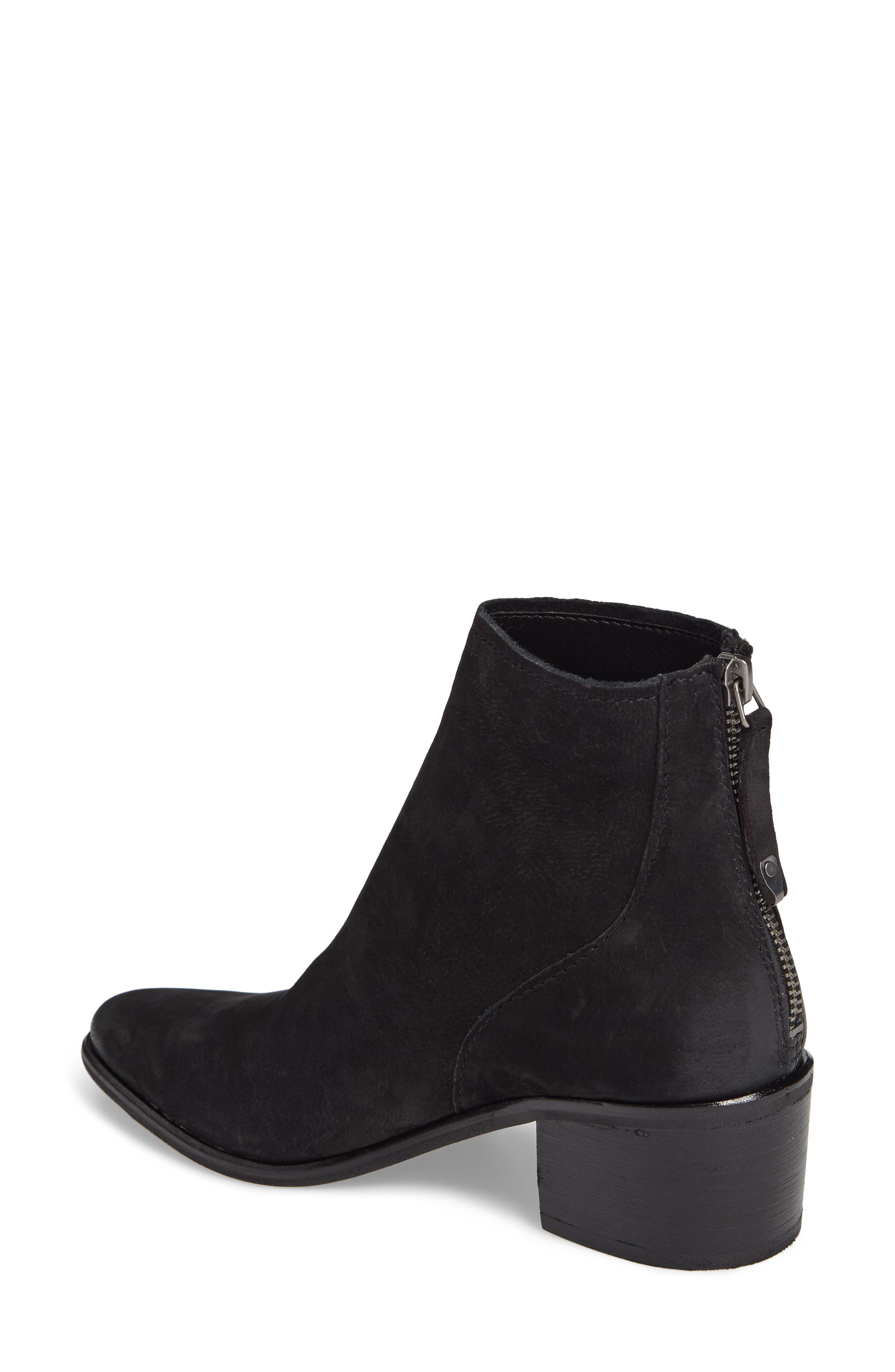 Cassius Block Heel Bootie,                             Alternate thumbnail 2, color,                             Black Nubuck Leather