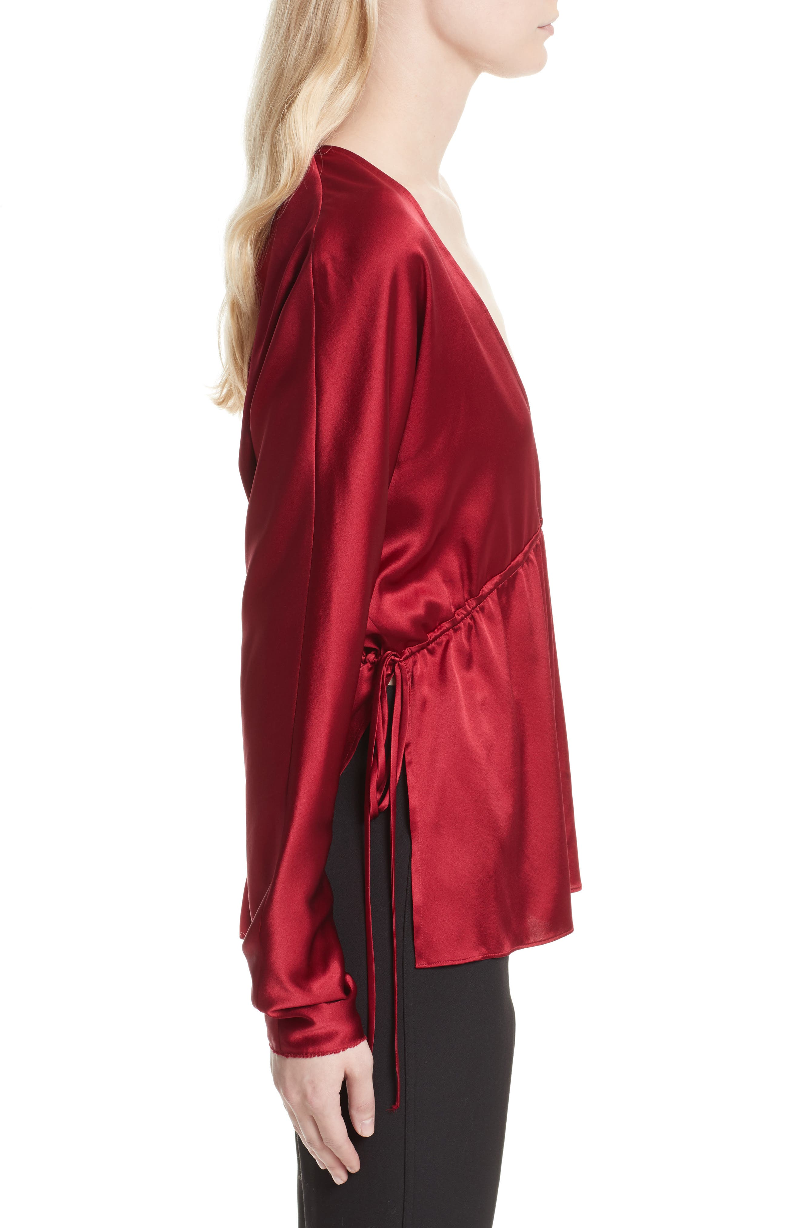 Ophelie Stretch Silk Blouse,                             Alternate thumbnail 3, color,                             Cayenne