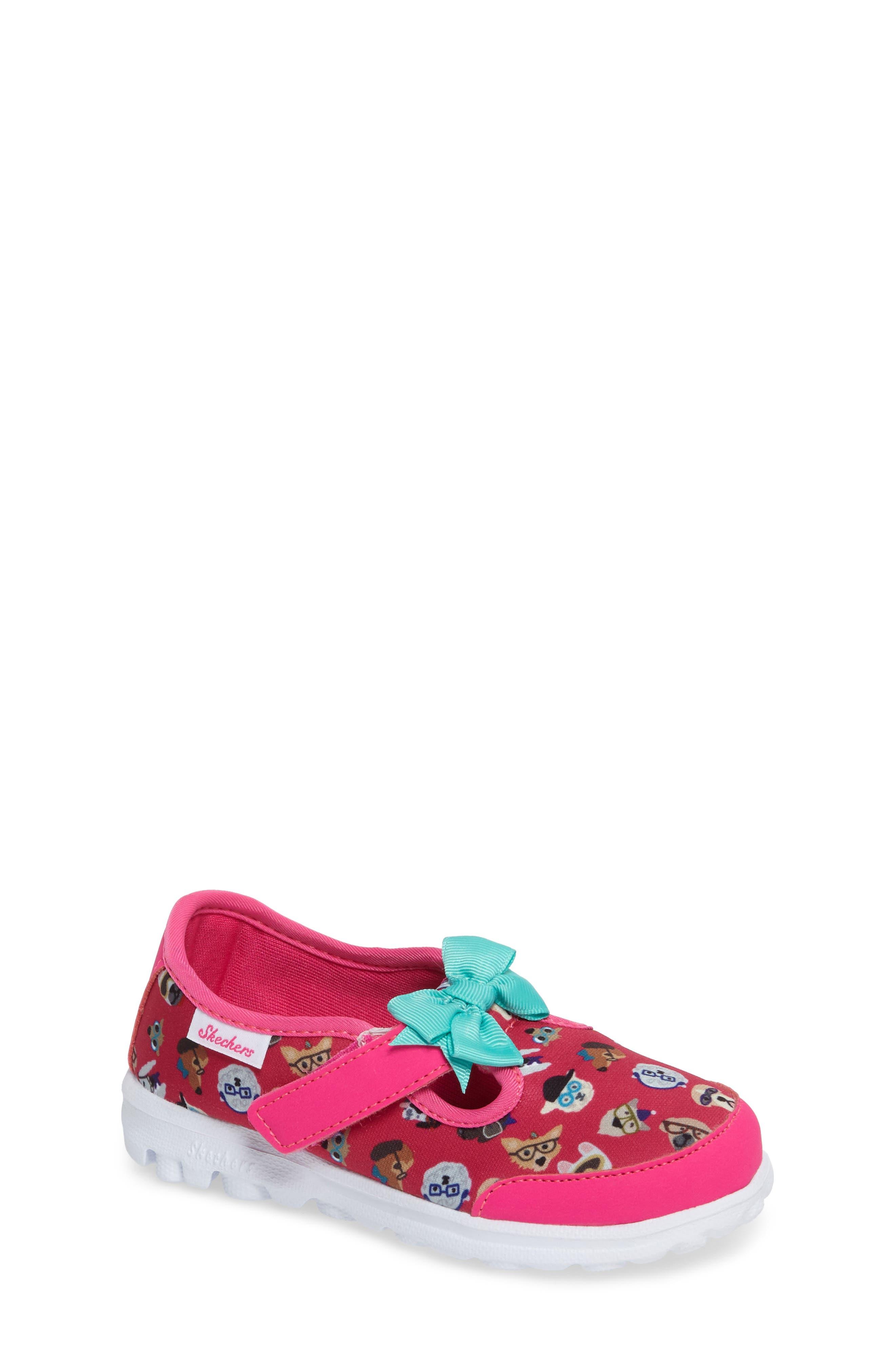 Main Image - SKECHERS Go Walk Bow Wow Sneaker (Baby, Walker & Toddler)