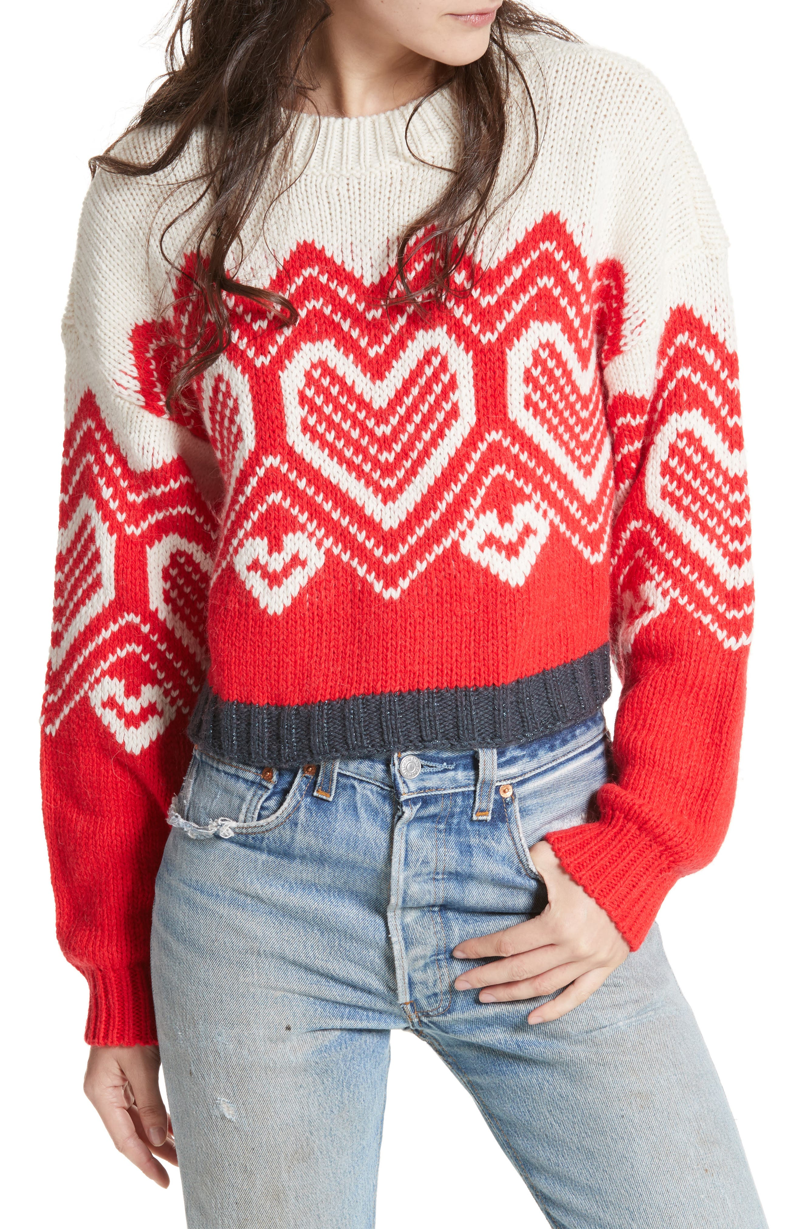 I Heart You Sweater,                         Main,                         color, Red Combo