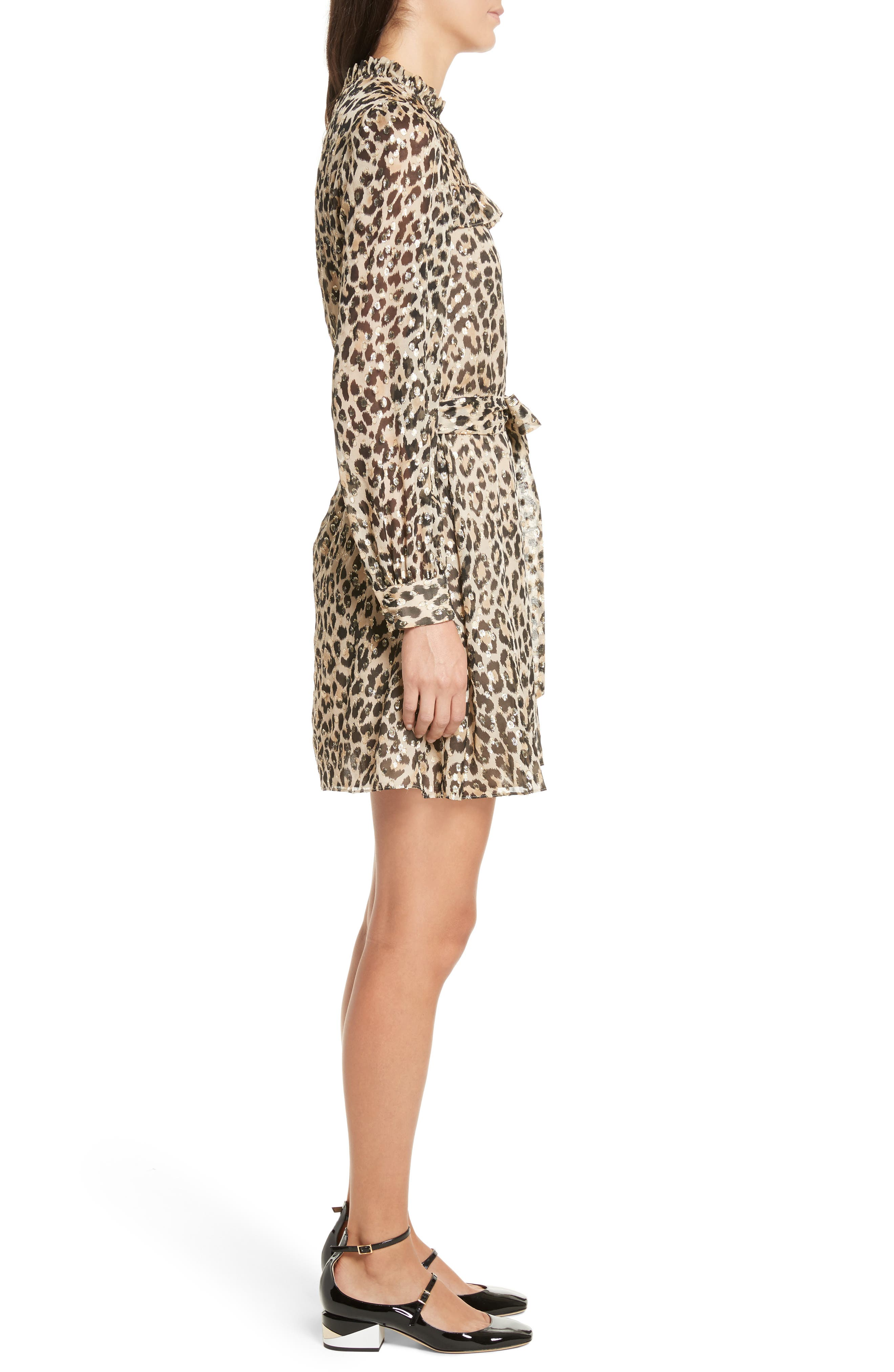 leopard clip dot minidress,                             Alternate thumbnail 3, color,                             Classic Camel