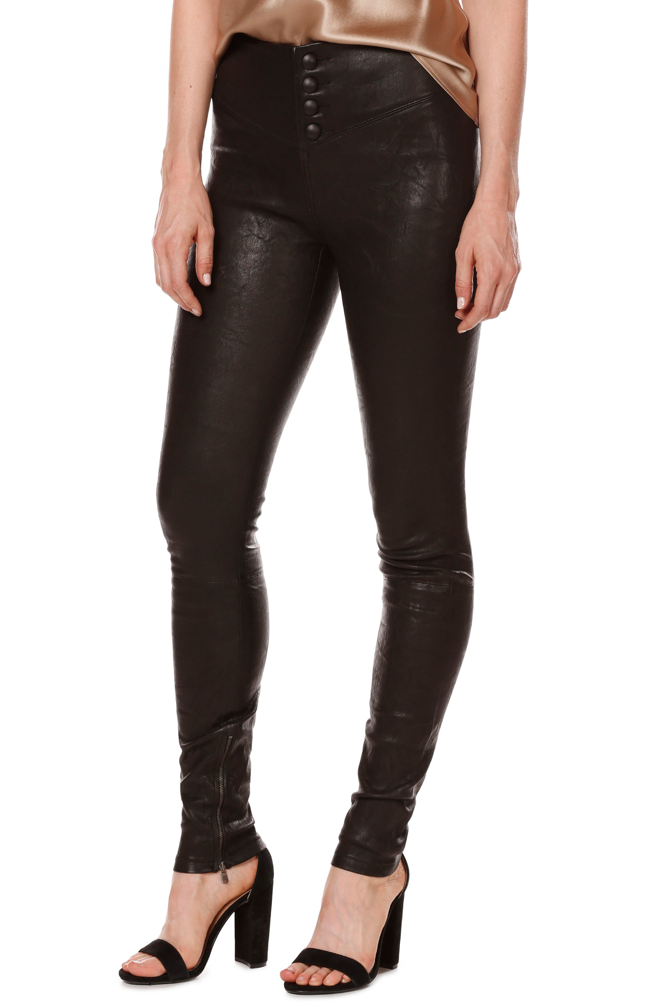 Rosie HW x PAIGE Ellery Ankle Zip Leather Pants,                         Main,                         color, Black Leather