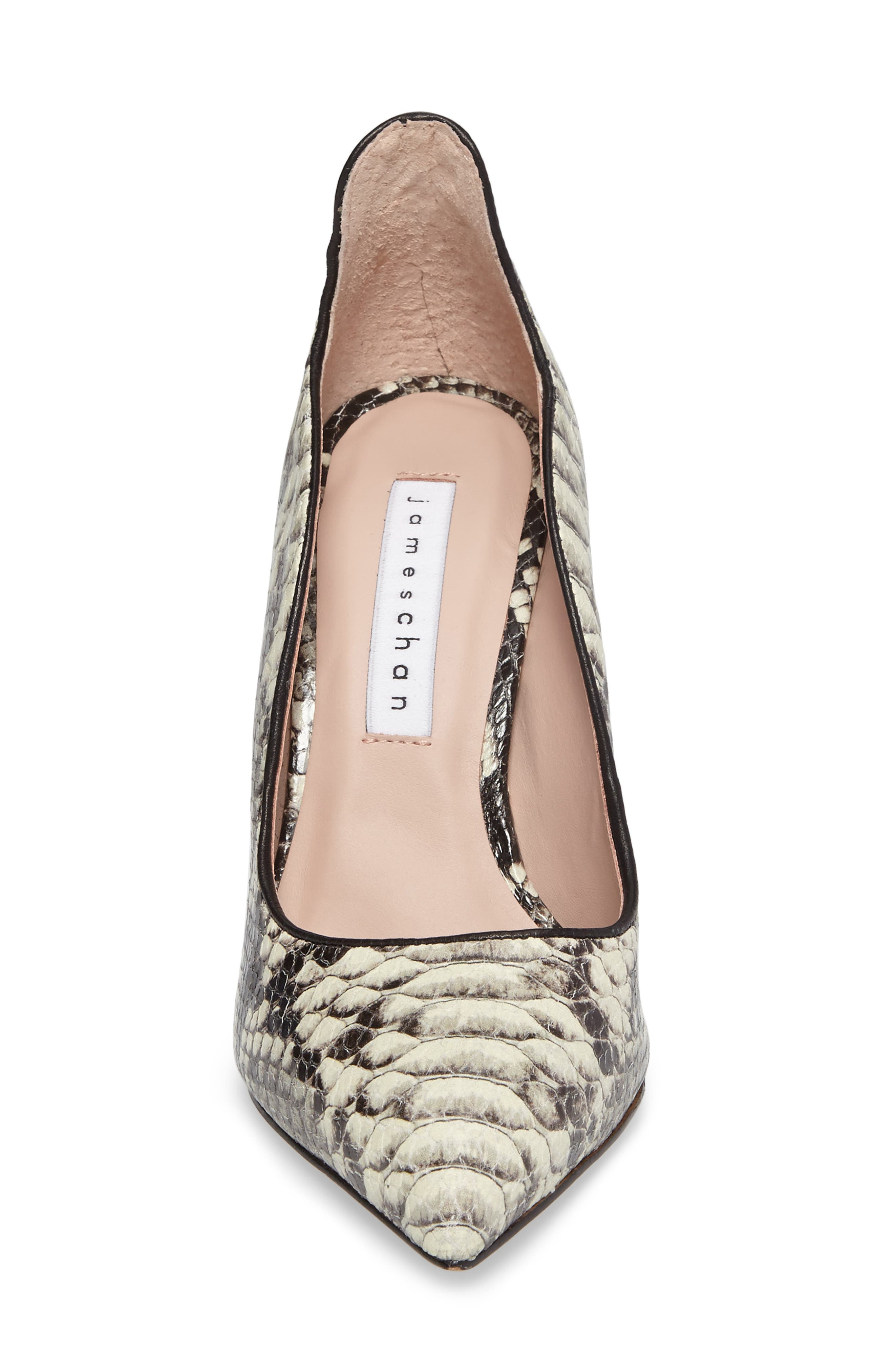 Anika II Curved Pump,                             Alternate thumbnail 4, color,                             Natural Embossed Leather