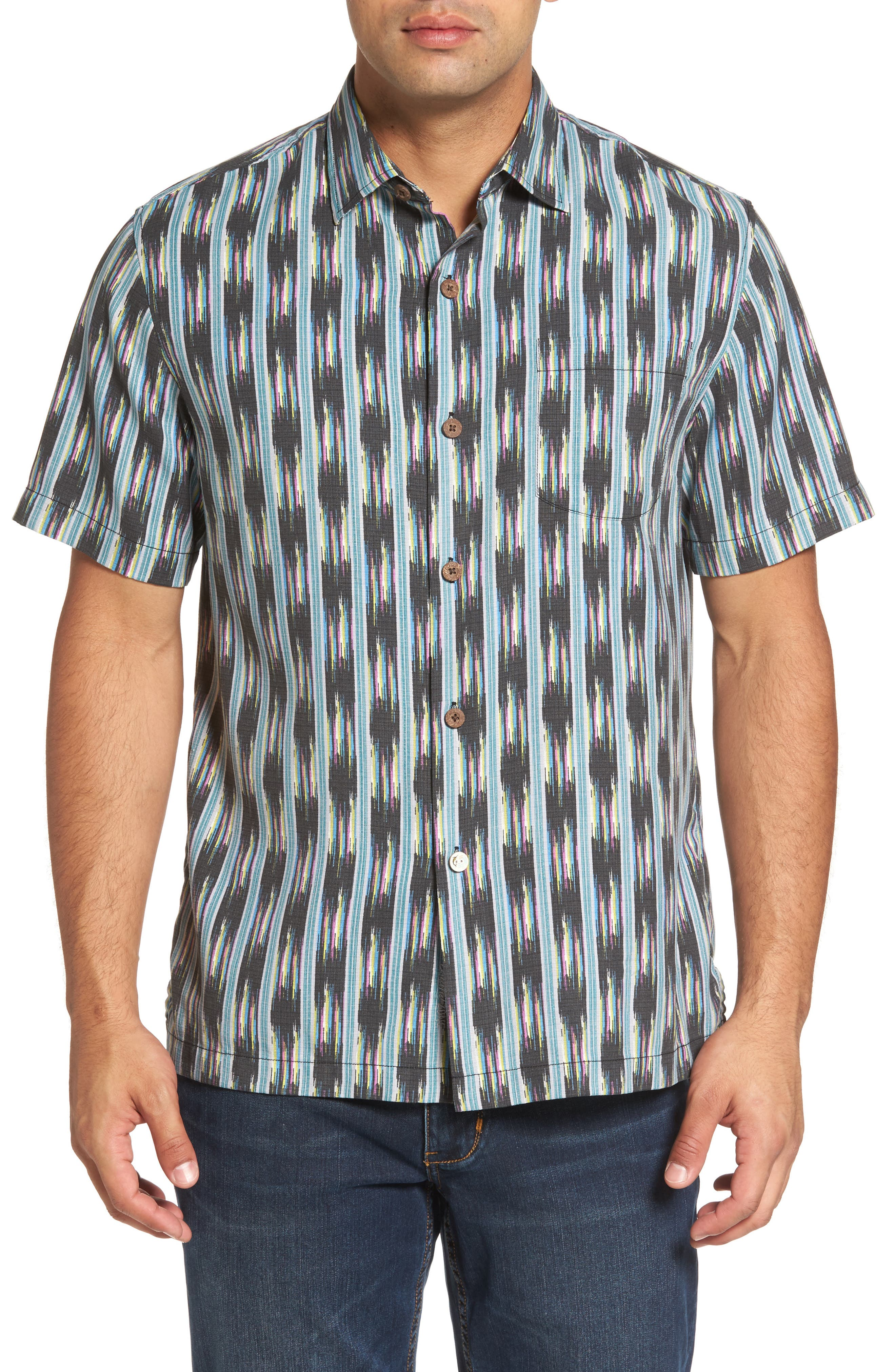 Ikat on a Hot Tin Roof Standard Fit Silk Blend Camp Shirt,                         Main,                         color, Jet Black