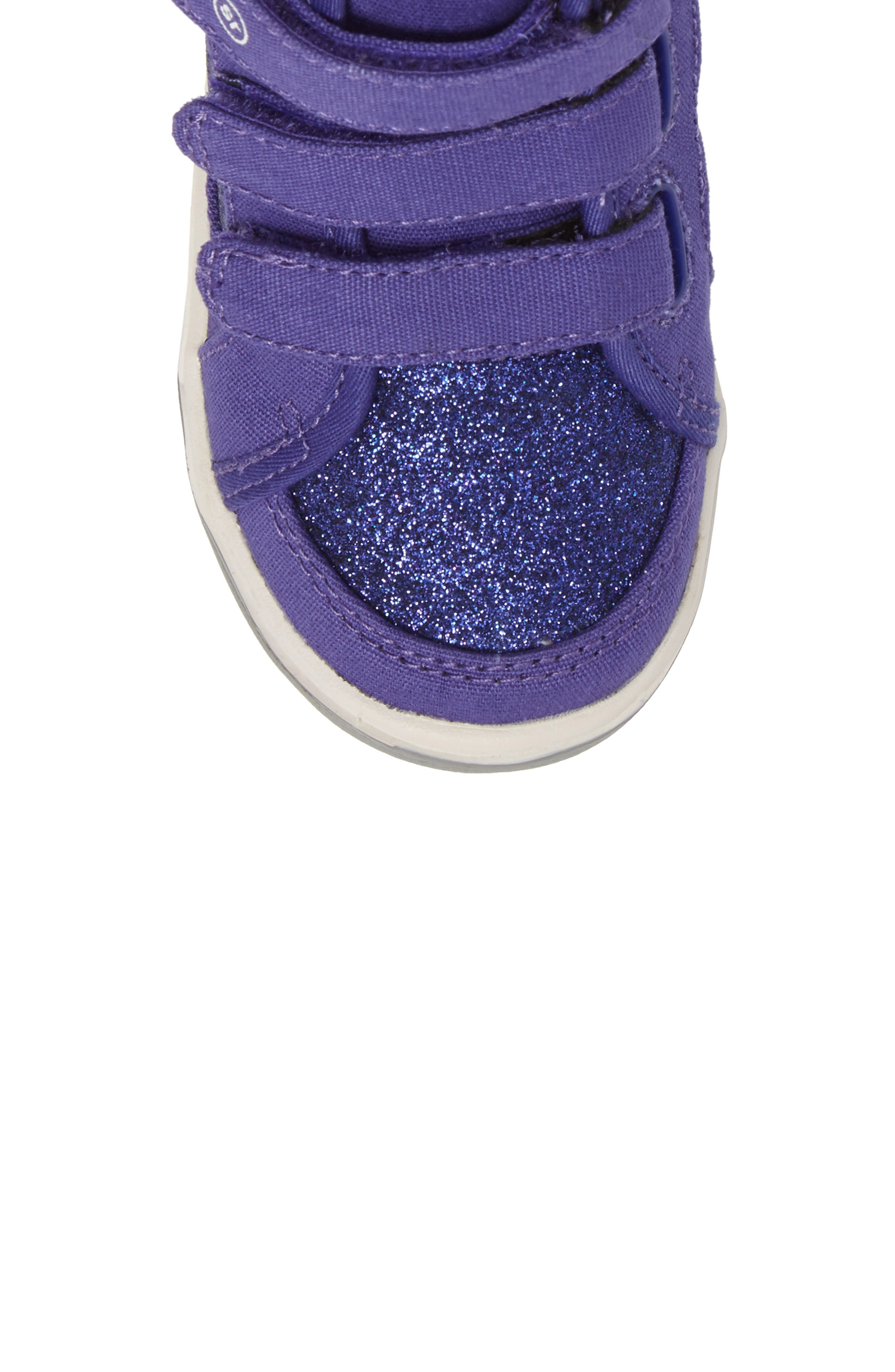 Ellis Glitter High Top Sneaker,                             Alternate thumbnail 5, color,                             Purple