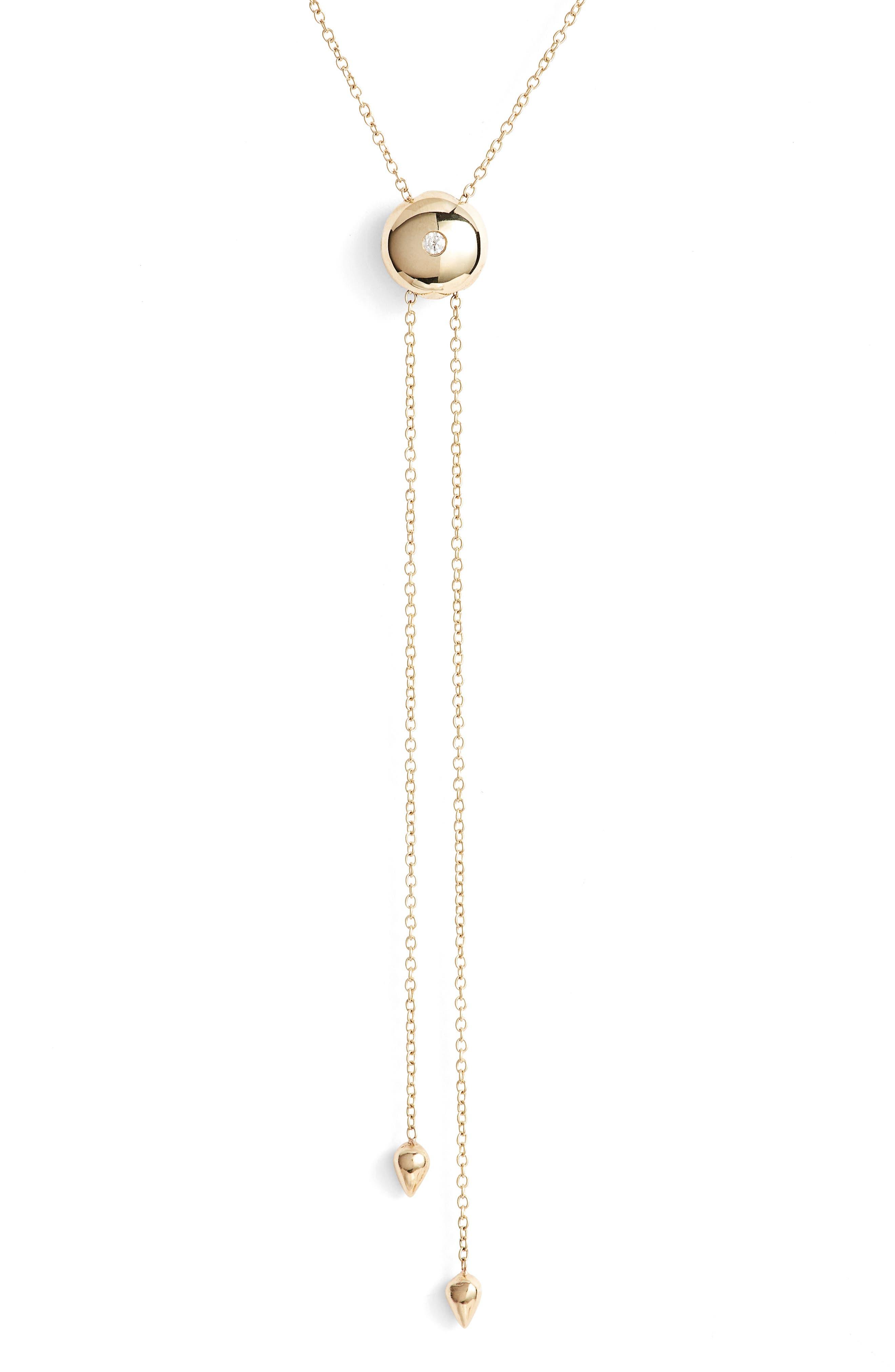 Diamond Lariat Necklace,                             Alternate thumbnail 2, color,                             Yellow Gold