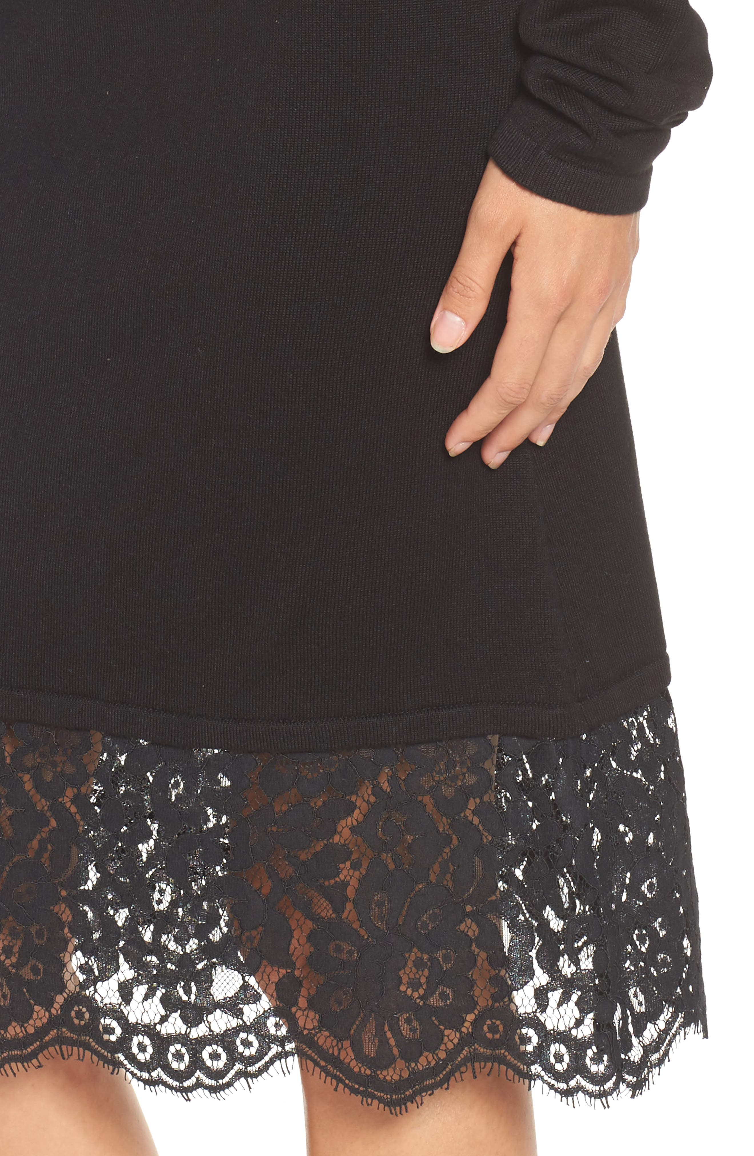 Off the Shoulder Sheath Dress,                             Alternate thumbnail 4, color,                             Black