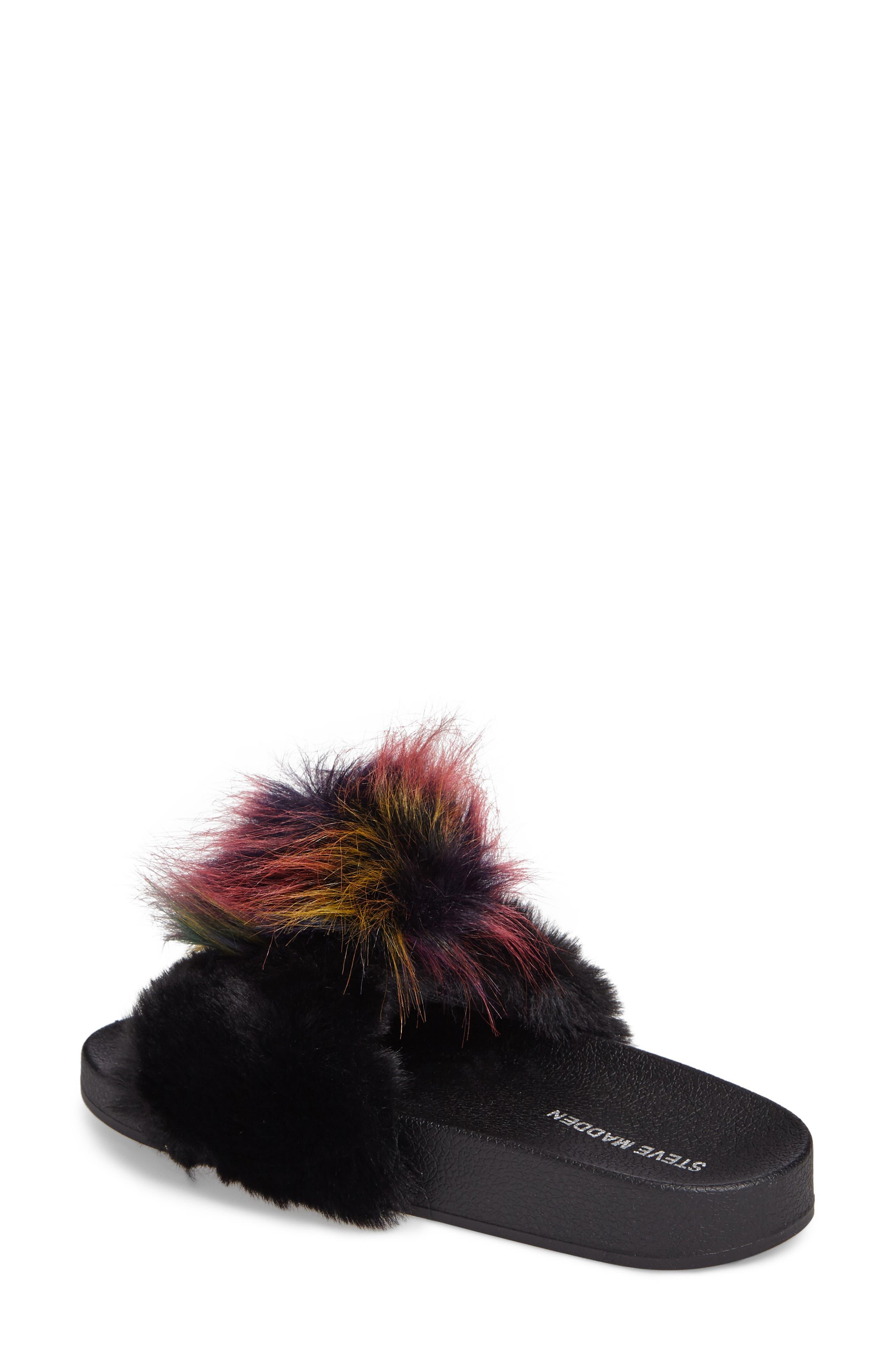 Spiral Faux Fur Slide Sandal,                             Alternate thumbnail 2, color,                             Black Multi