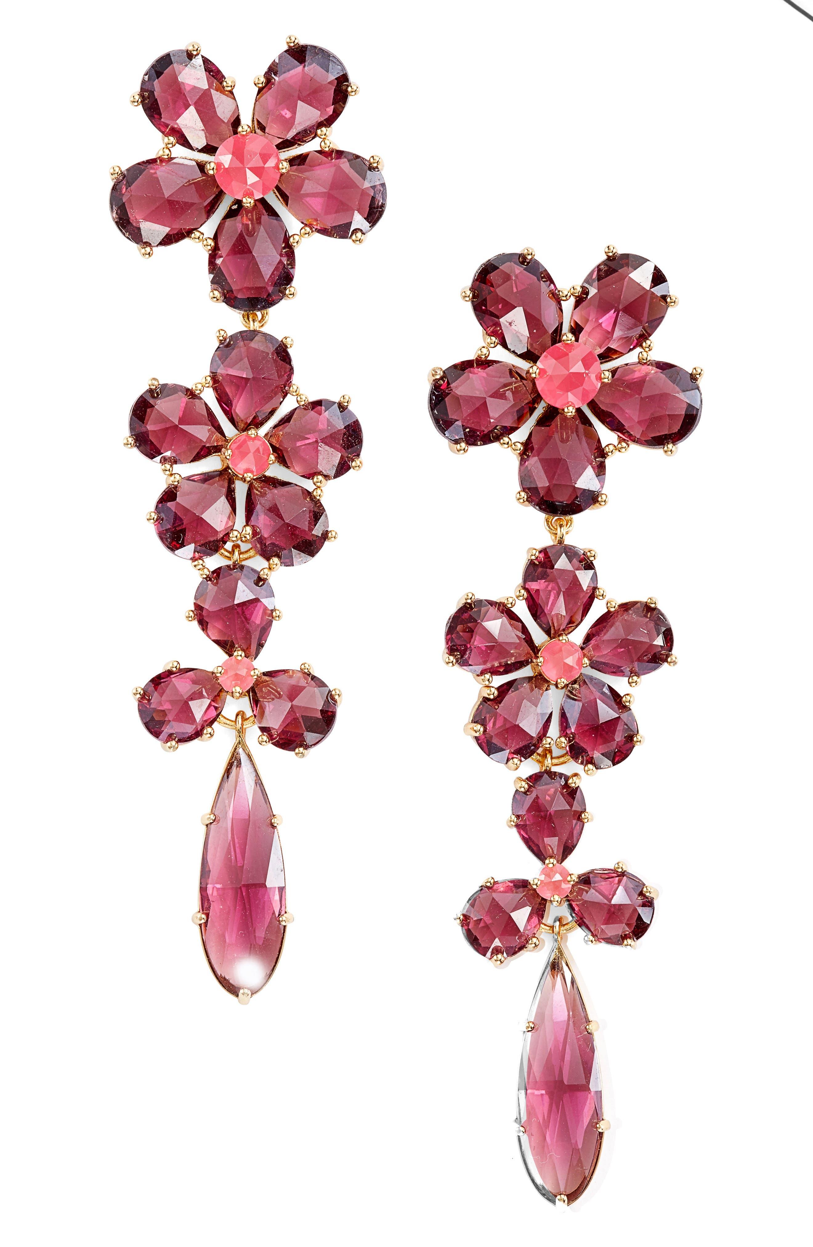 in full bloom linear drop earrings,                             Main thumbnail 1, color,                             Berry Multi