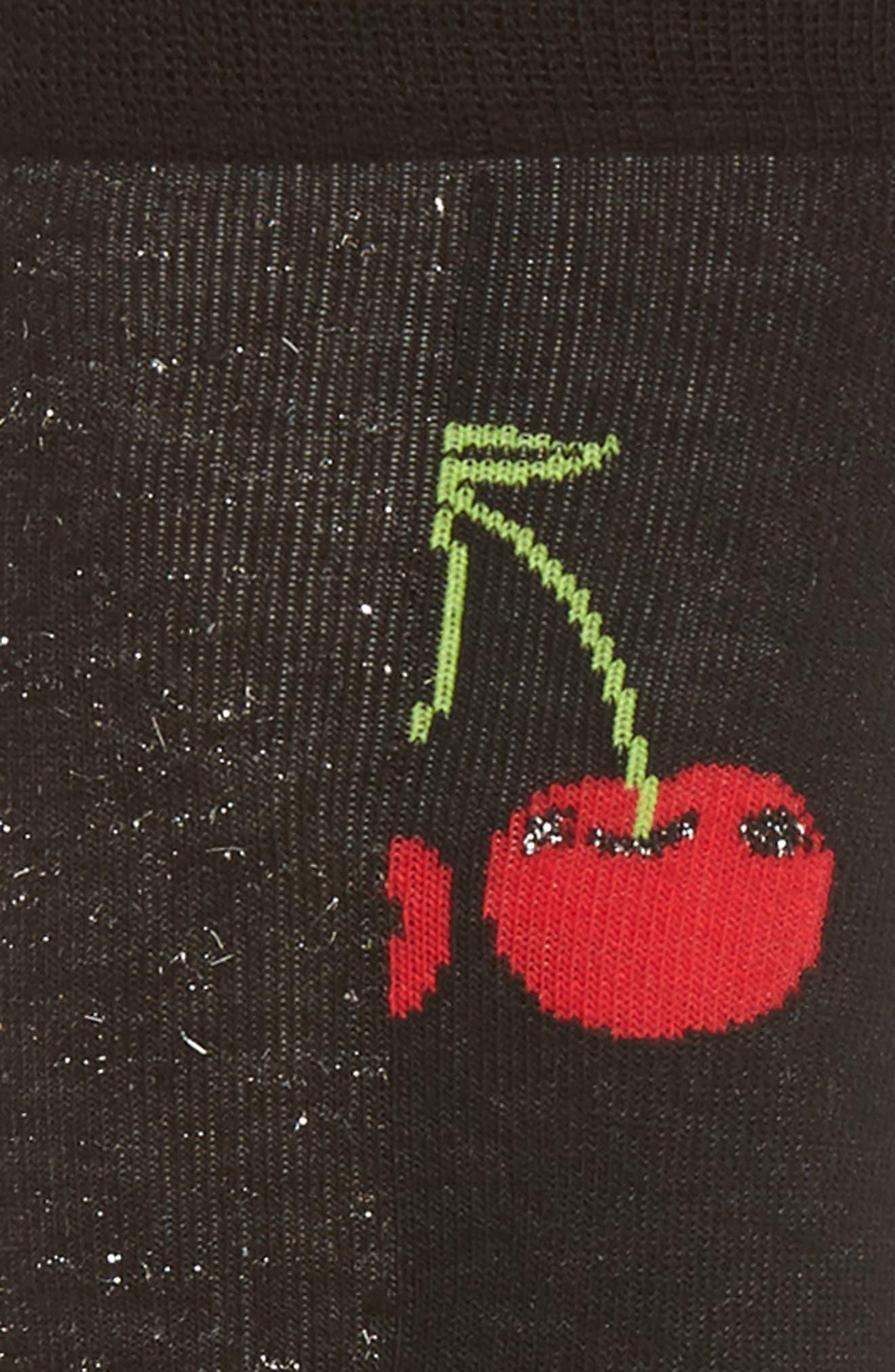 Cherry Crew Socks,                             Alternate thumbnail 2, color,                             Black/ Red