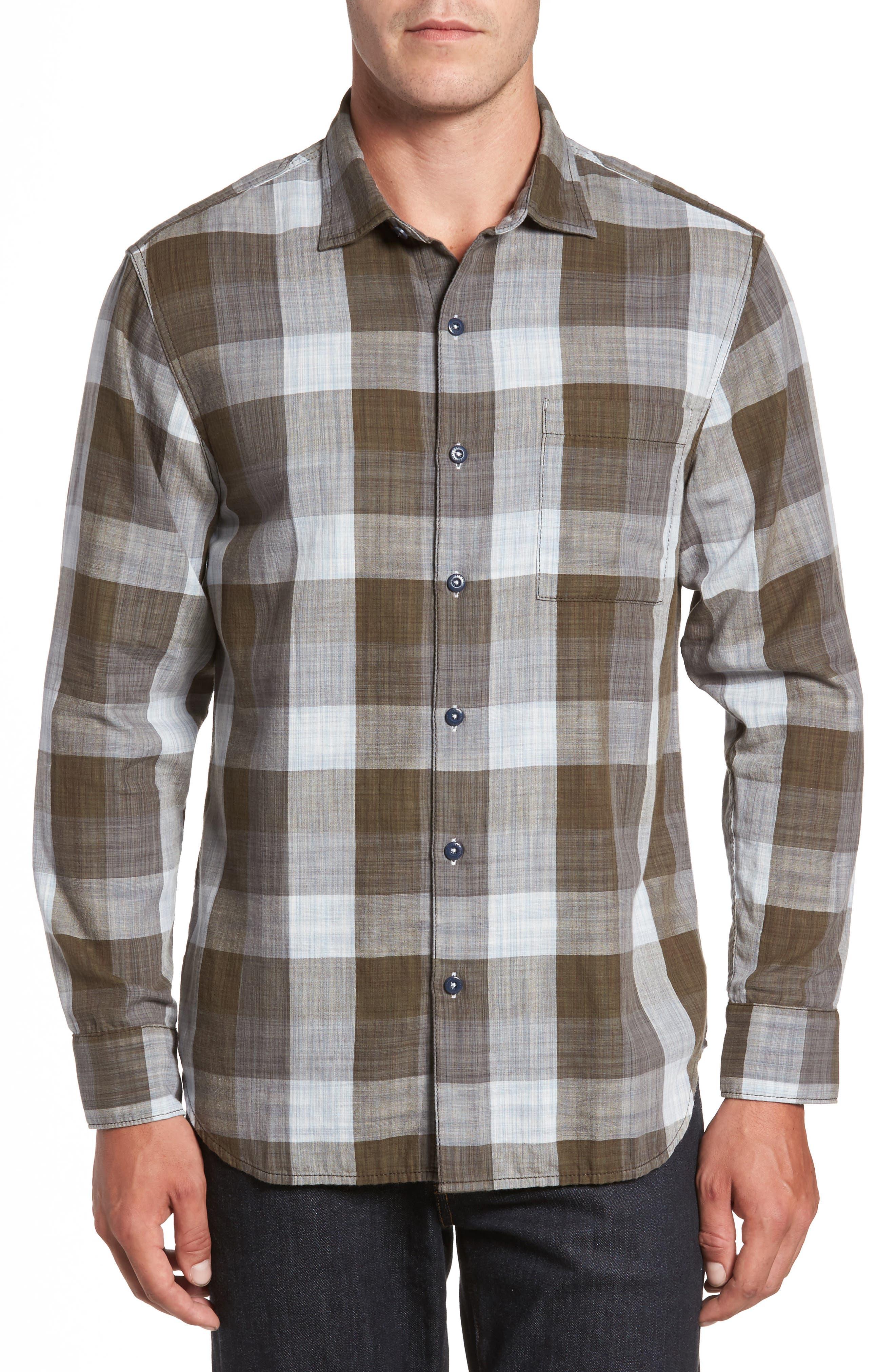 Dual Lux Standard Fit Check Sport Shirt,                         Main,                         color, Pebble Grey