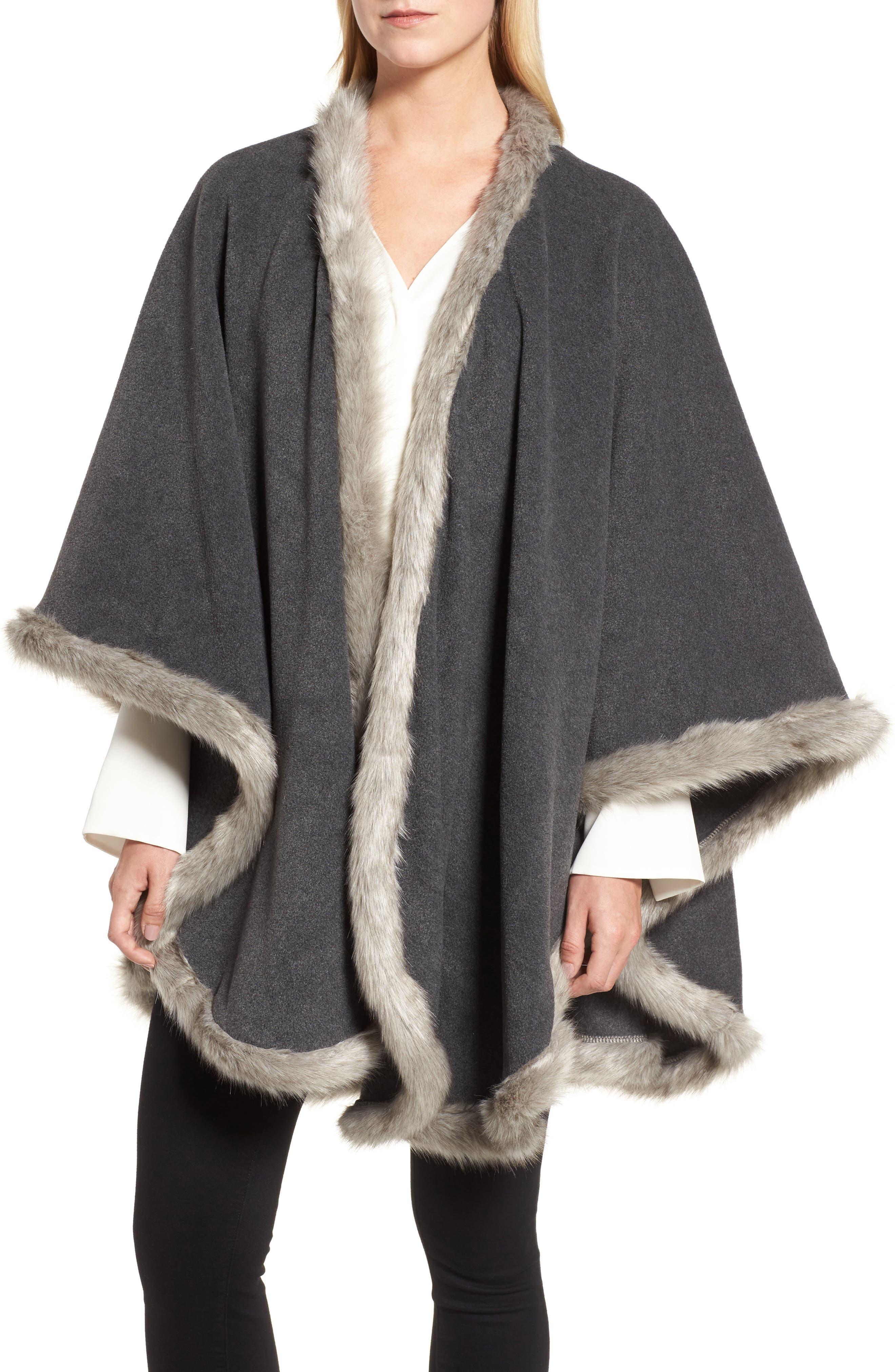 Tara Faux Fur Trim Wrap,                         Main,                         color, Charcoal/ Granite Fox